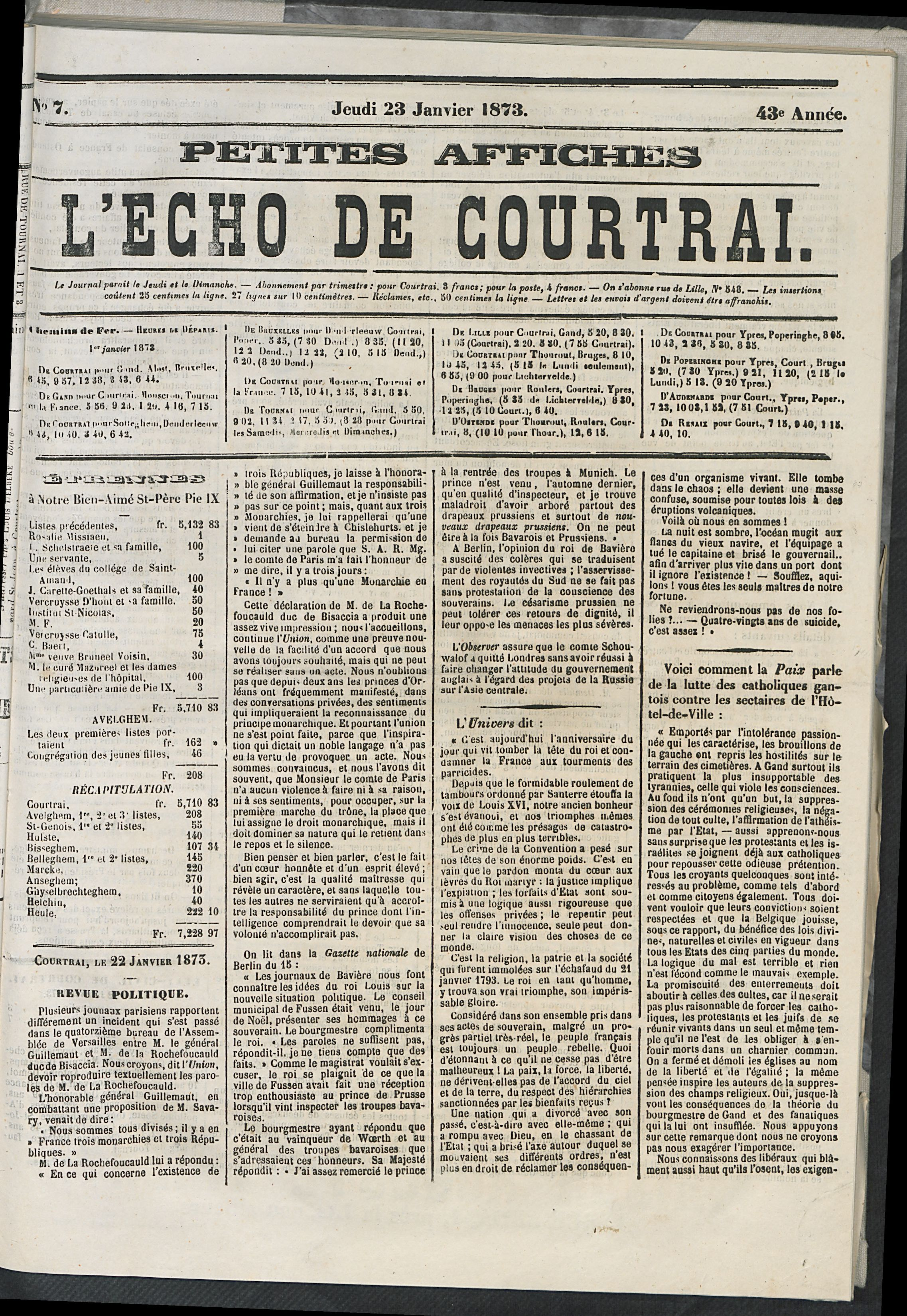 L'echo De Courtrai 1873-01-23 p1
