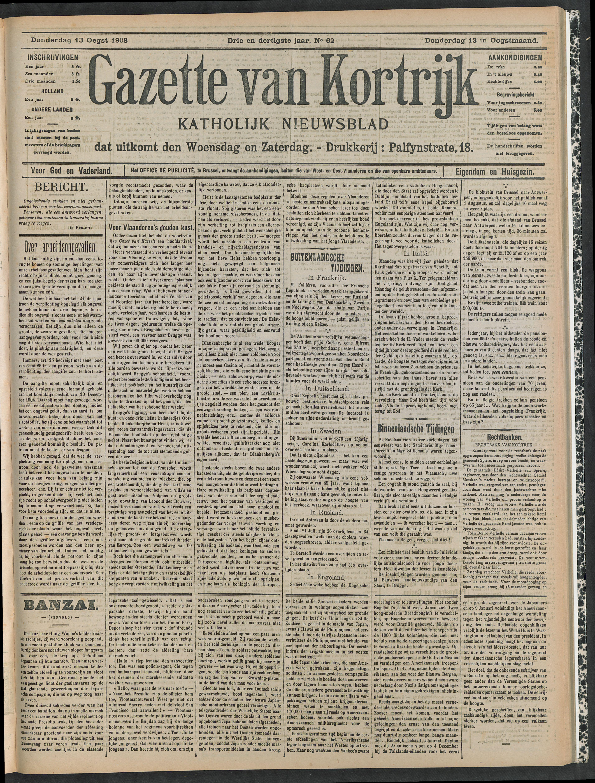 Gazette Van Kortrijk 1908-08-13 p1