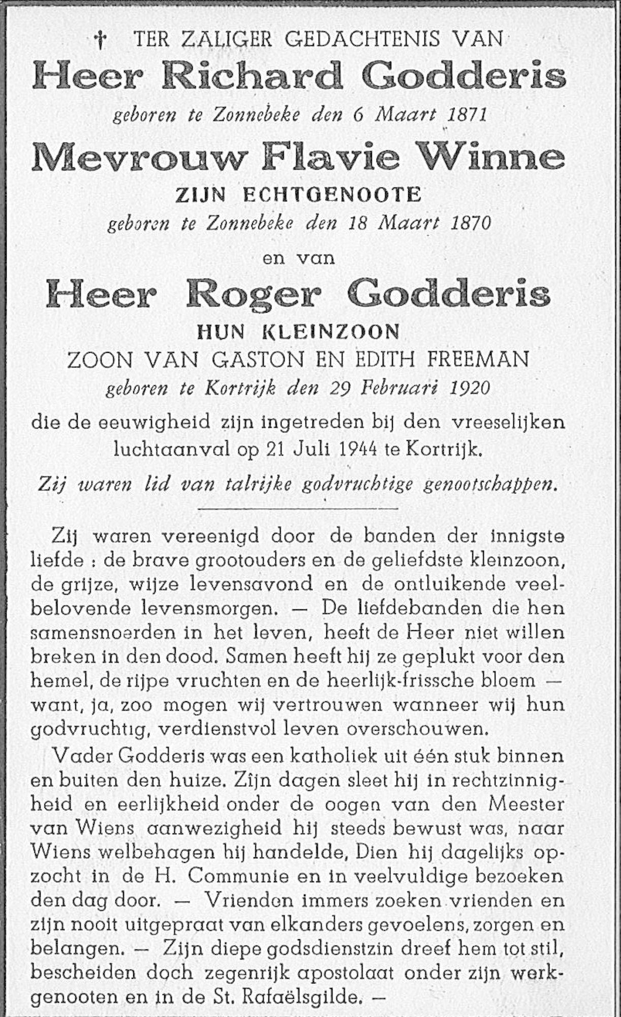 Richard Godderis, Flavie Winne, Roger Godderis
