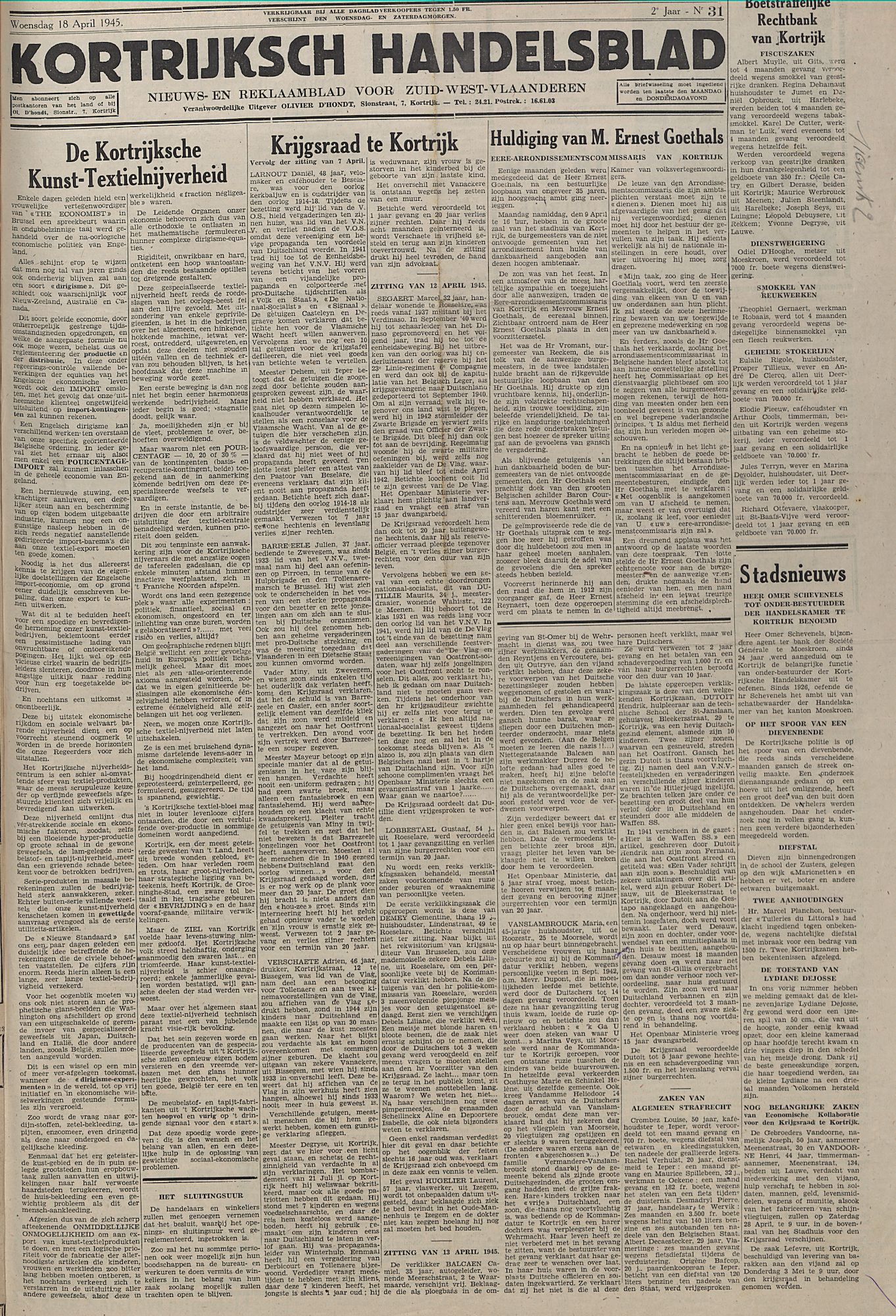 Kortrijksch Handelsblad18 april 1945 N31 p1