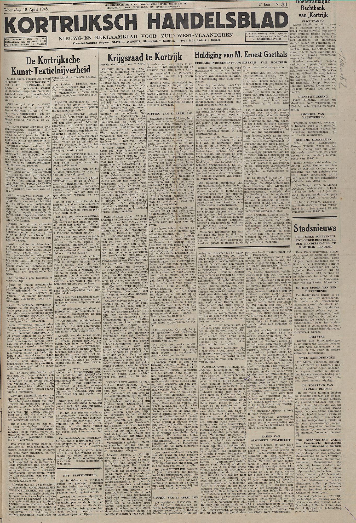 Kortrijksch Handelsblad18 april 1945 N31 p1