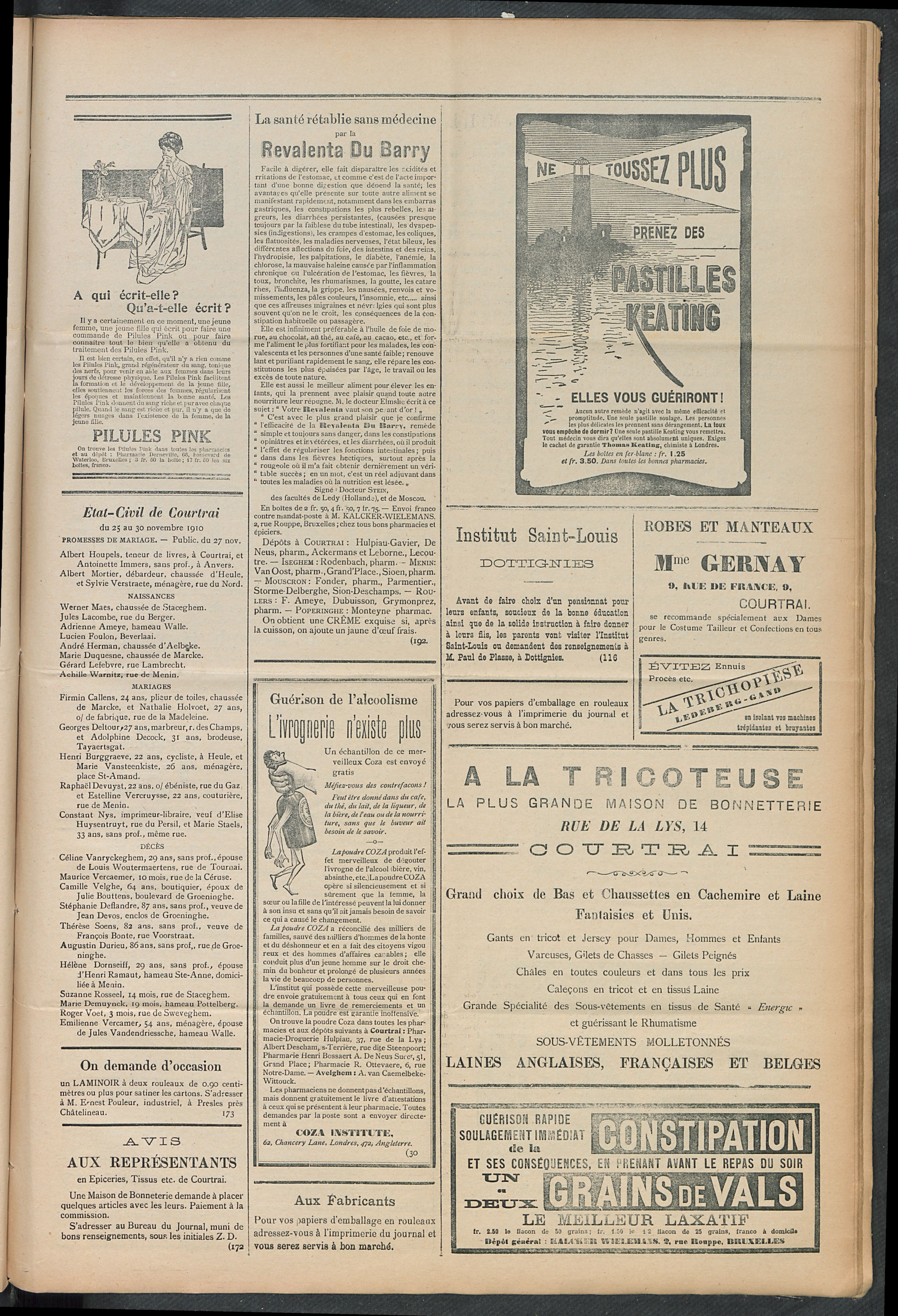 L'echo De Courtrai 1910-12-01 p3