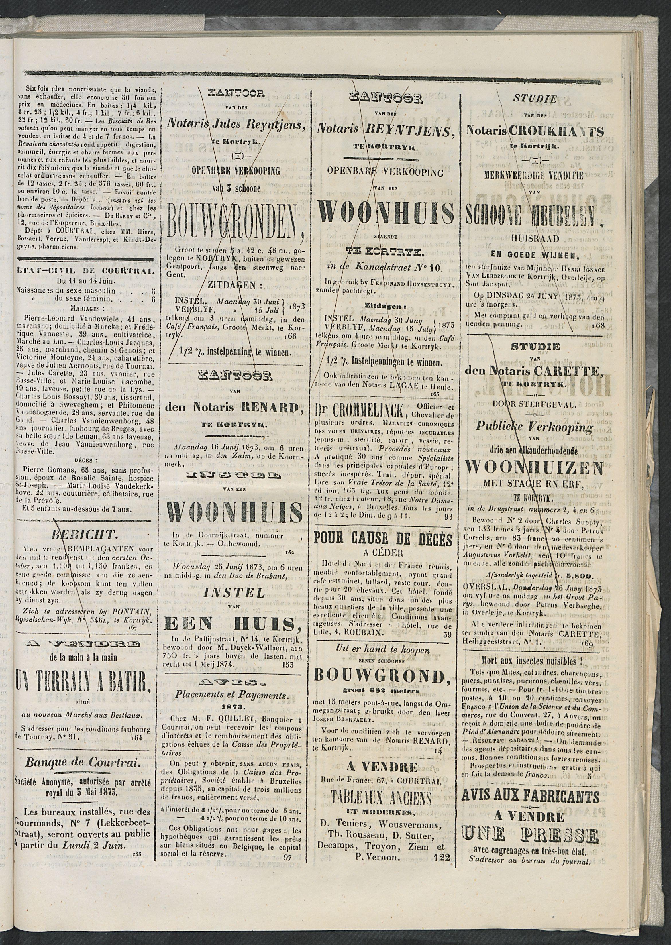 L'echo De Courtrai 1873-06-15 p3