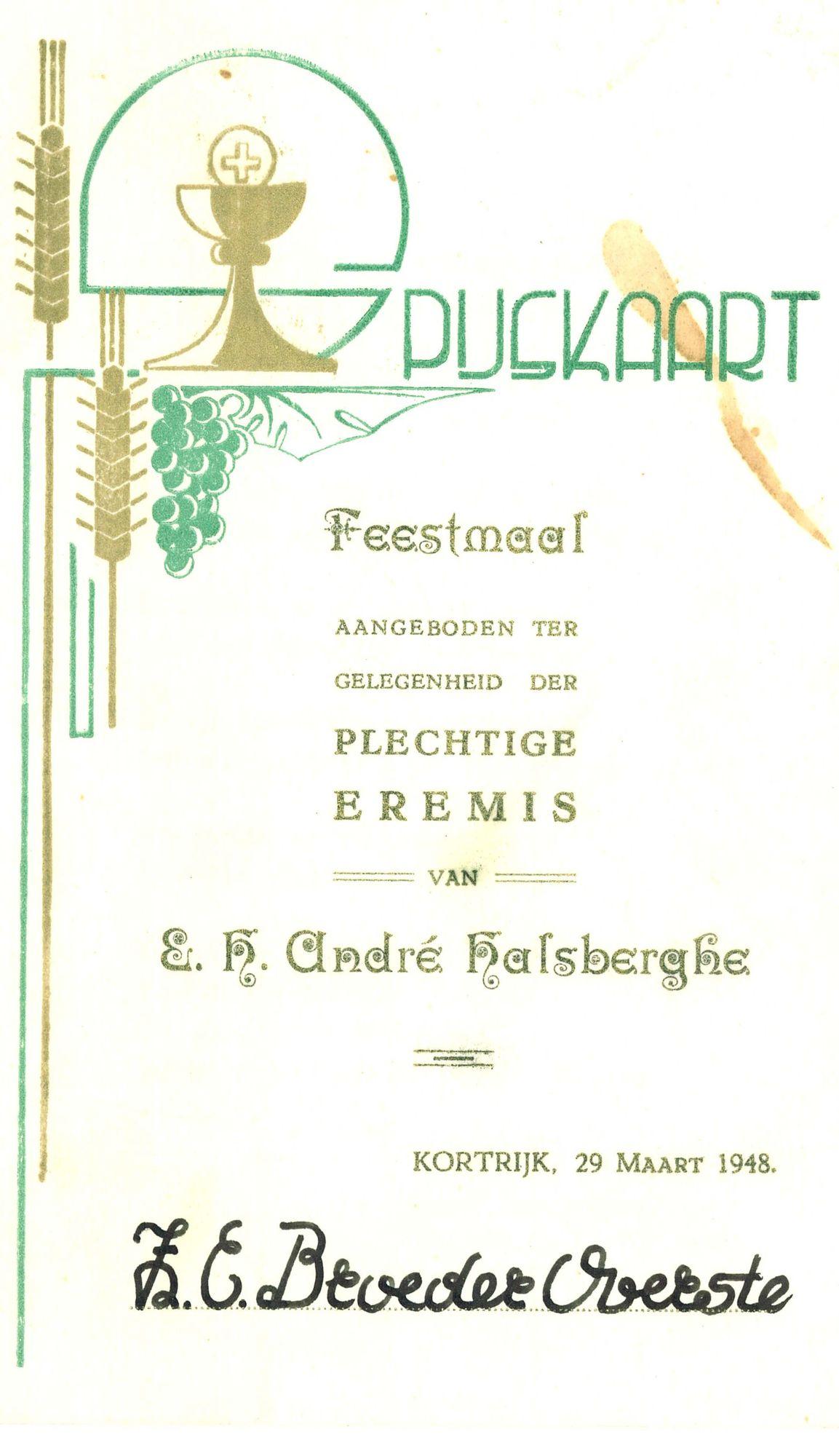 Spijskaart voor de eremis van E.H. André Halsberghe