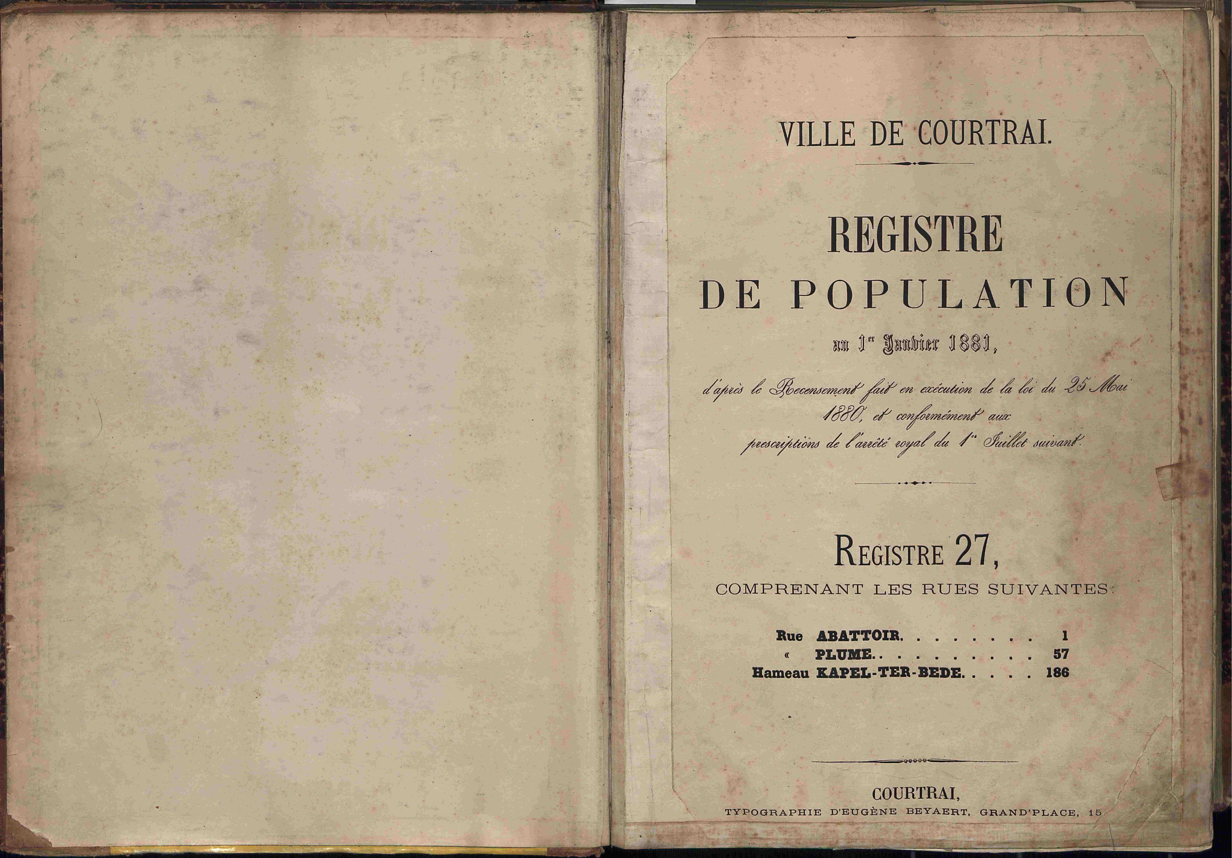 Bevolkingsregister Kortrijk 1880 boek 27