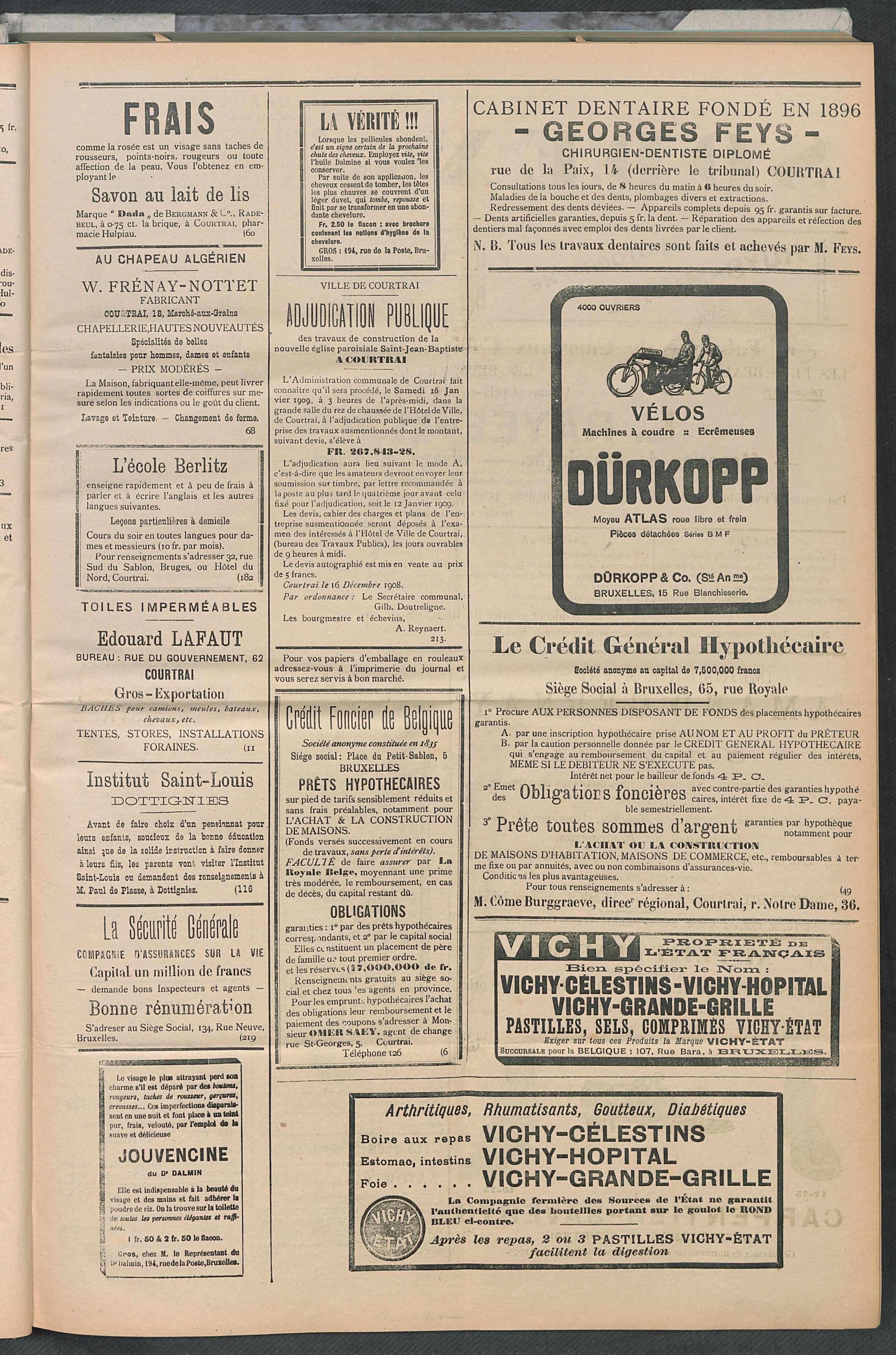 L'echo De Courtrai 1909-01-14 p3