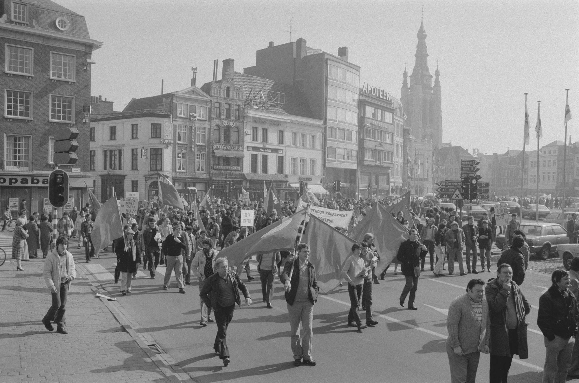 Betoging BBTK in Kortrijk in 1982