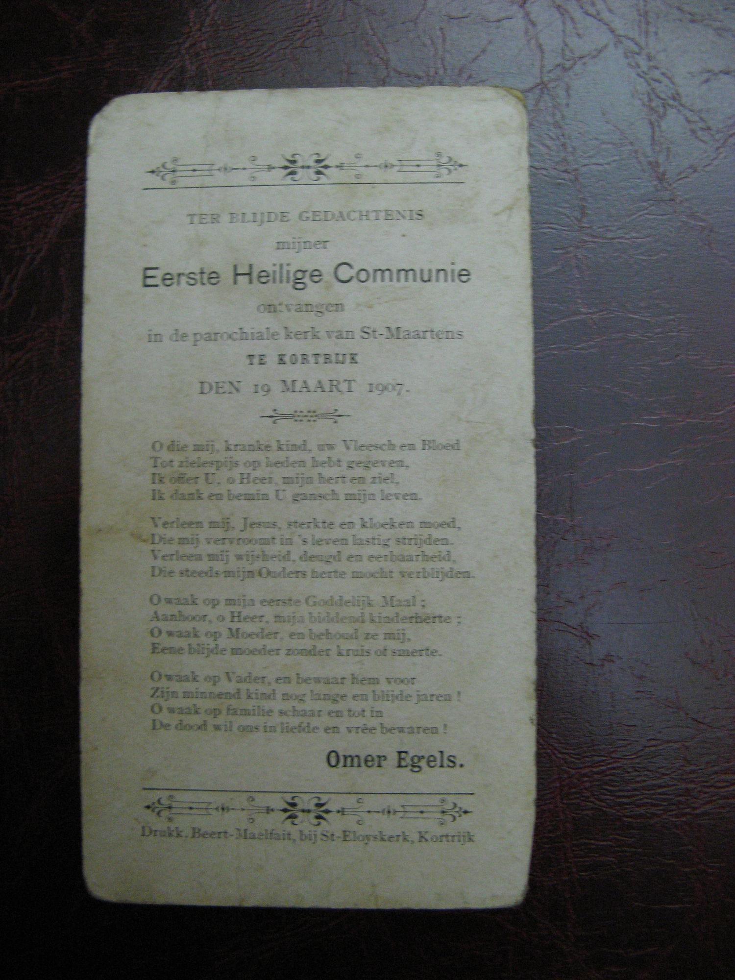 Bidprentje Eerste Communie 1907