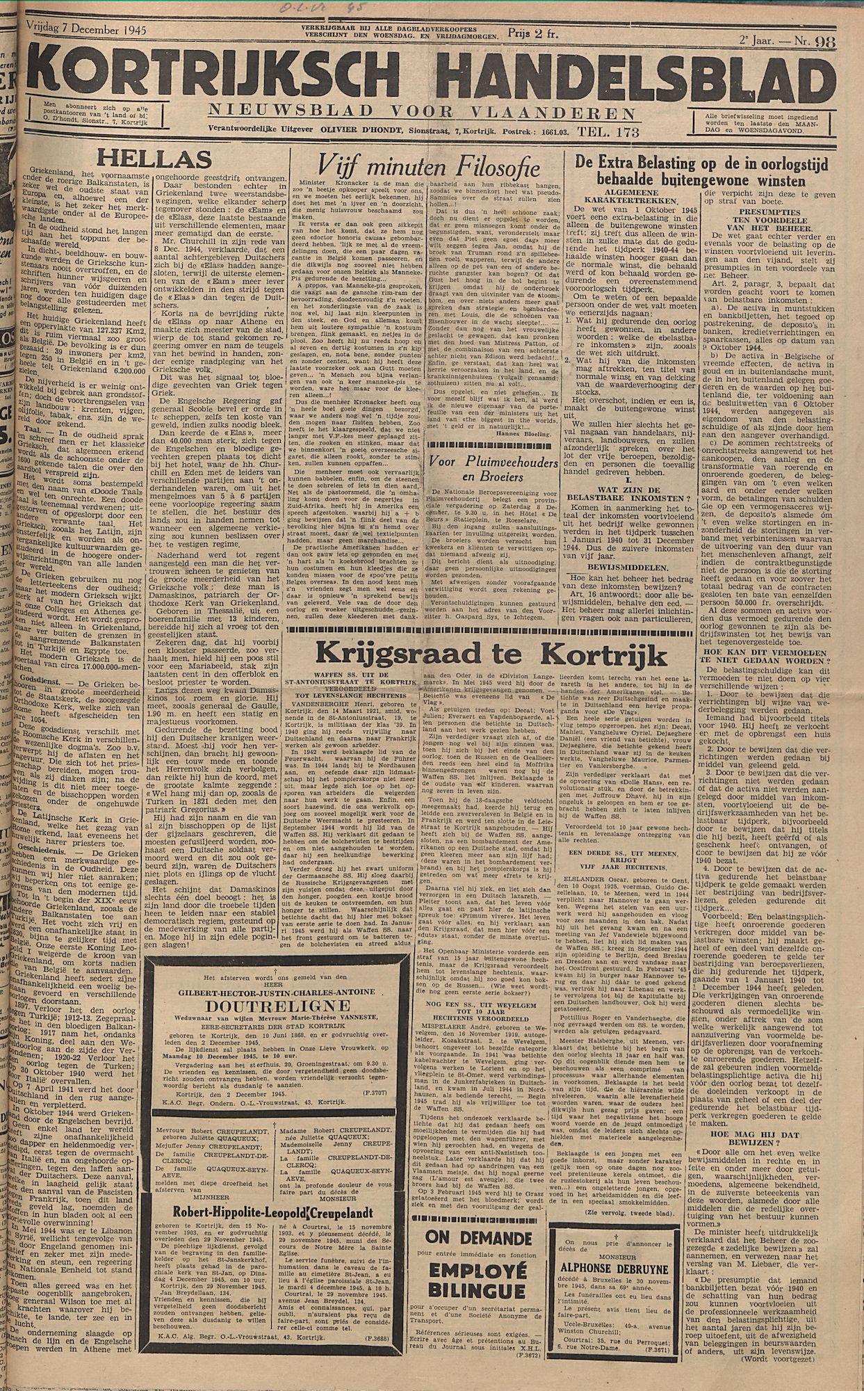Kortrijksch Handelsblad 7 december 1945 Nr98 p1