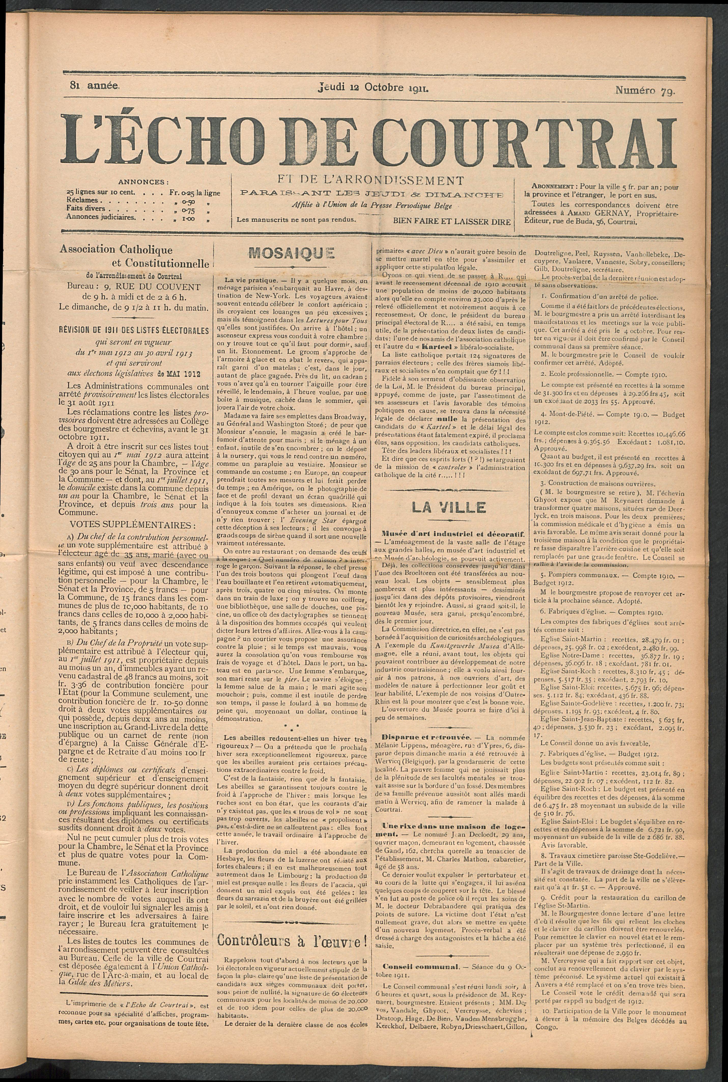 L'echo De Courtrai 1911-10-12 p1