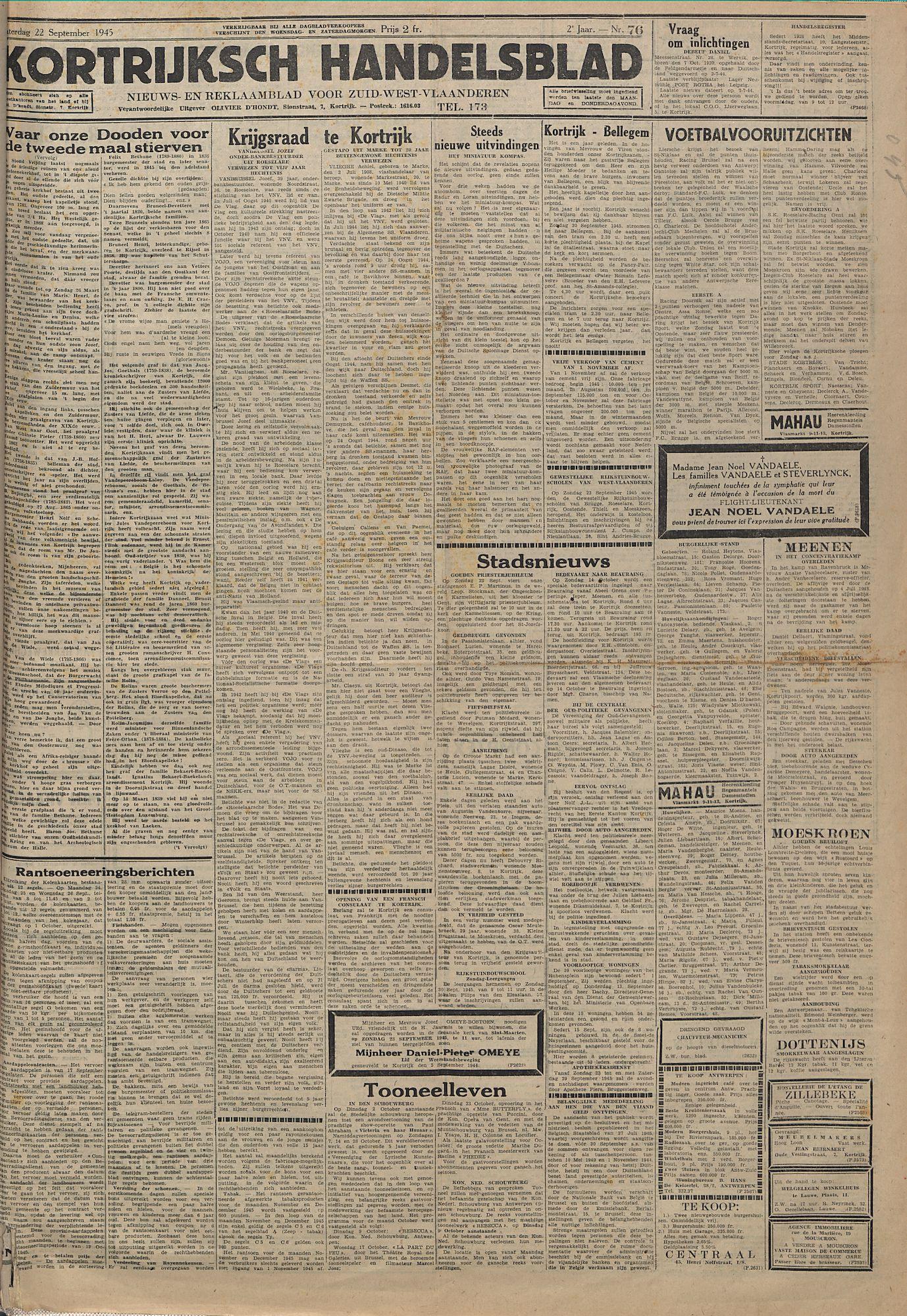 Kortrijksch Handelsblad 22 september 1945 Nr76 p1