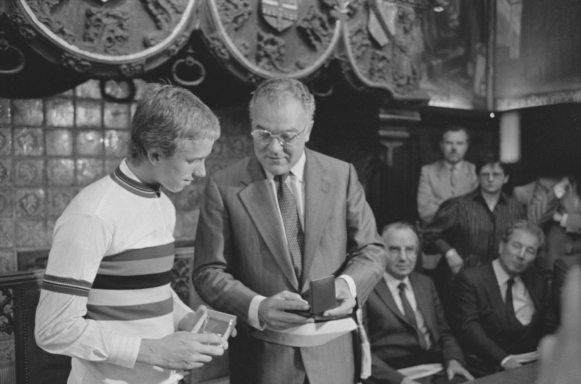 Huldiging van wereldkampioen Greg LeMond