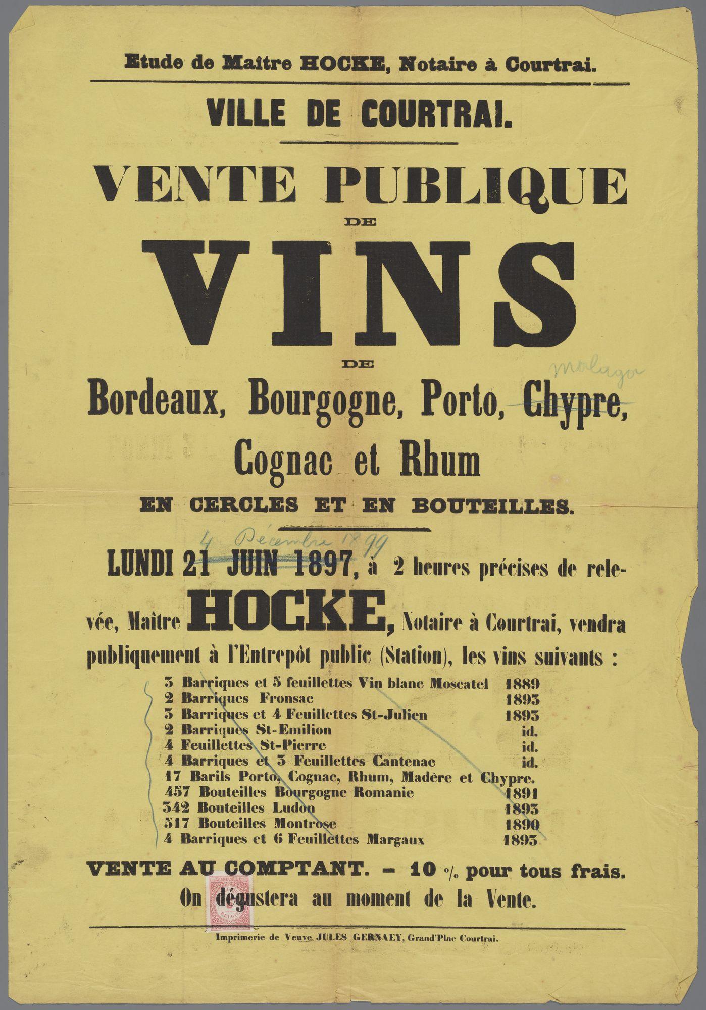 Openbare verkoop van sterke dranken 1897