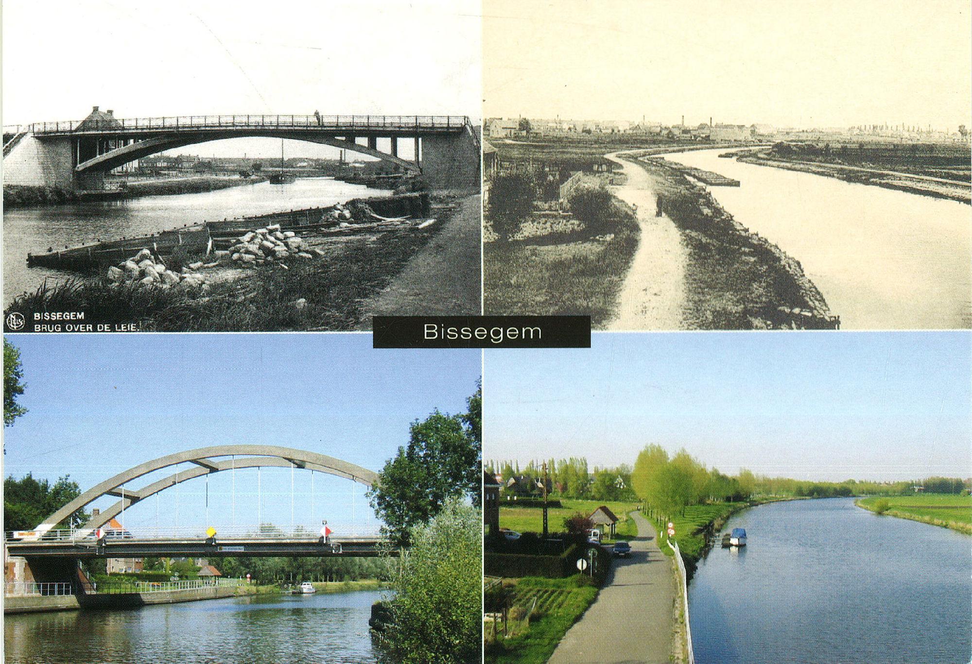 Postkaart met zicht op de Leie en enkele bruggen in Bissegem