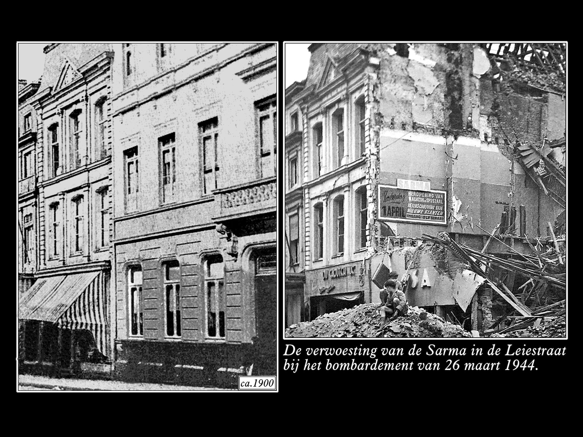 Leiestraat rond 1900 en in 1944