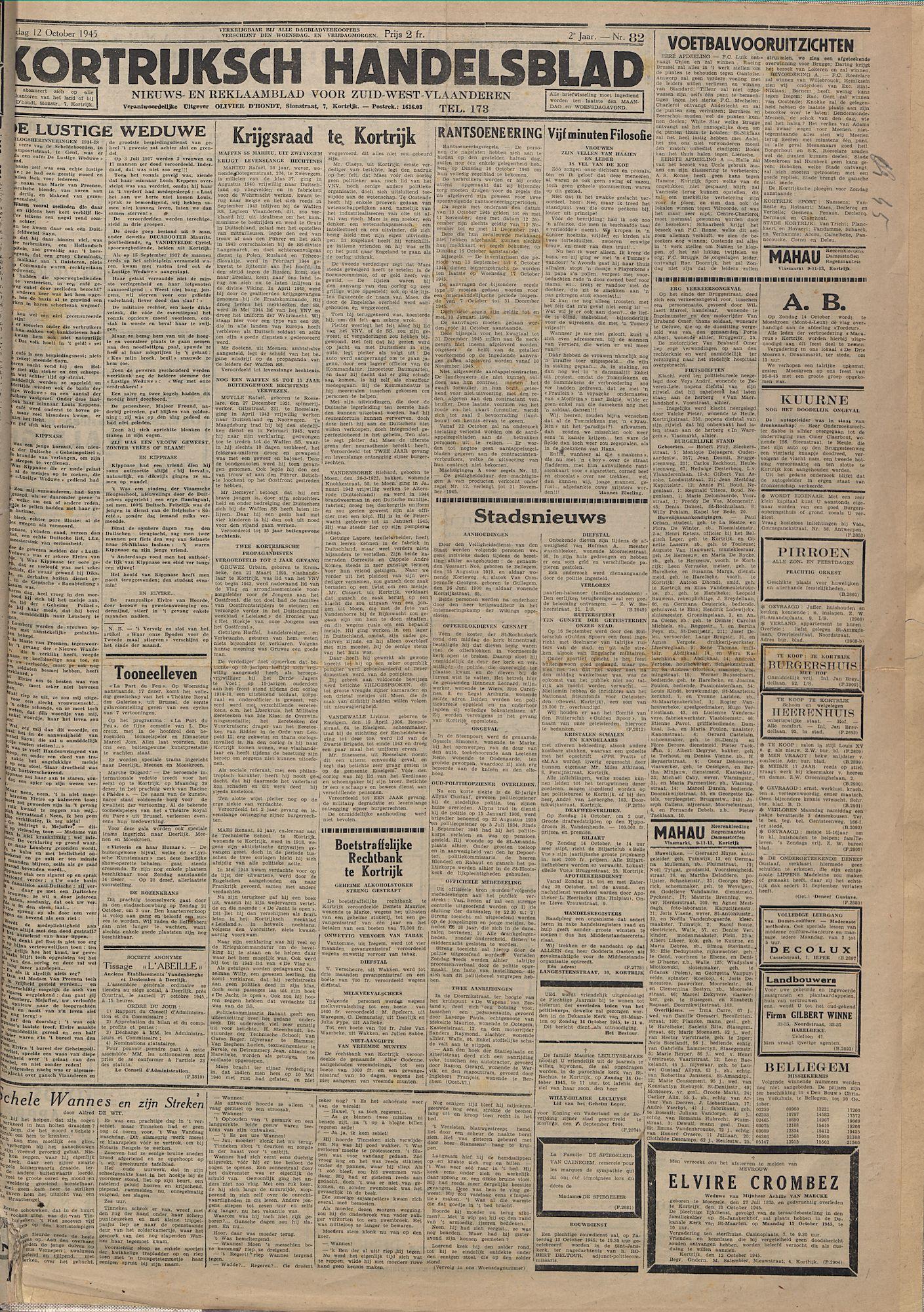 Kortrijksch Handelsblad 12 october 1945 Nr82 p1
