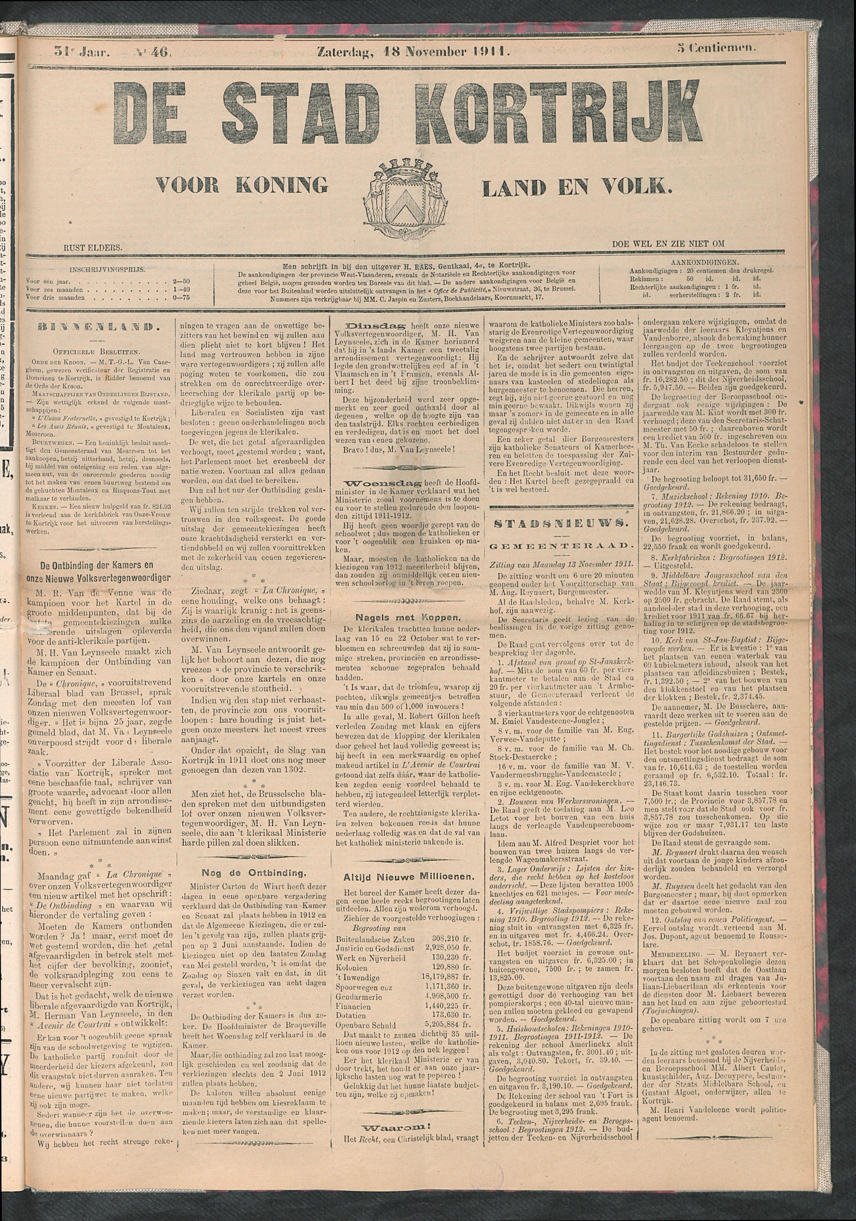 De Stad Kortrijk 1911-11-18 p1