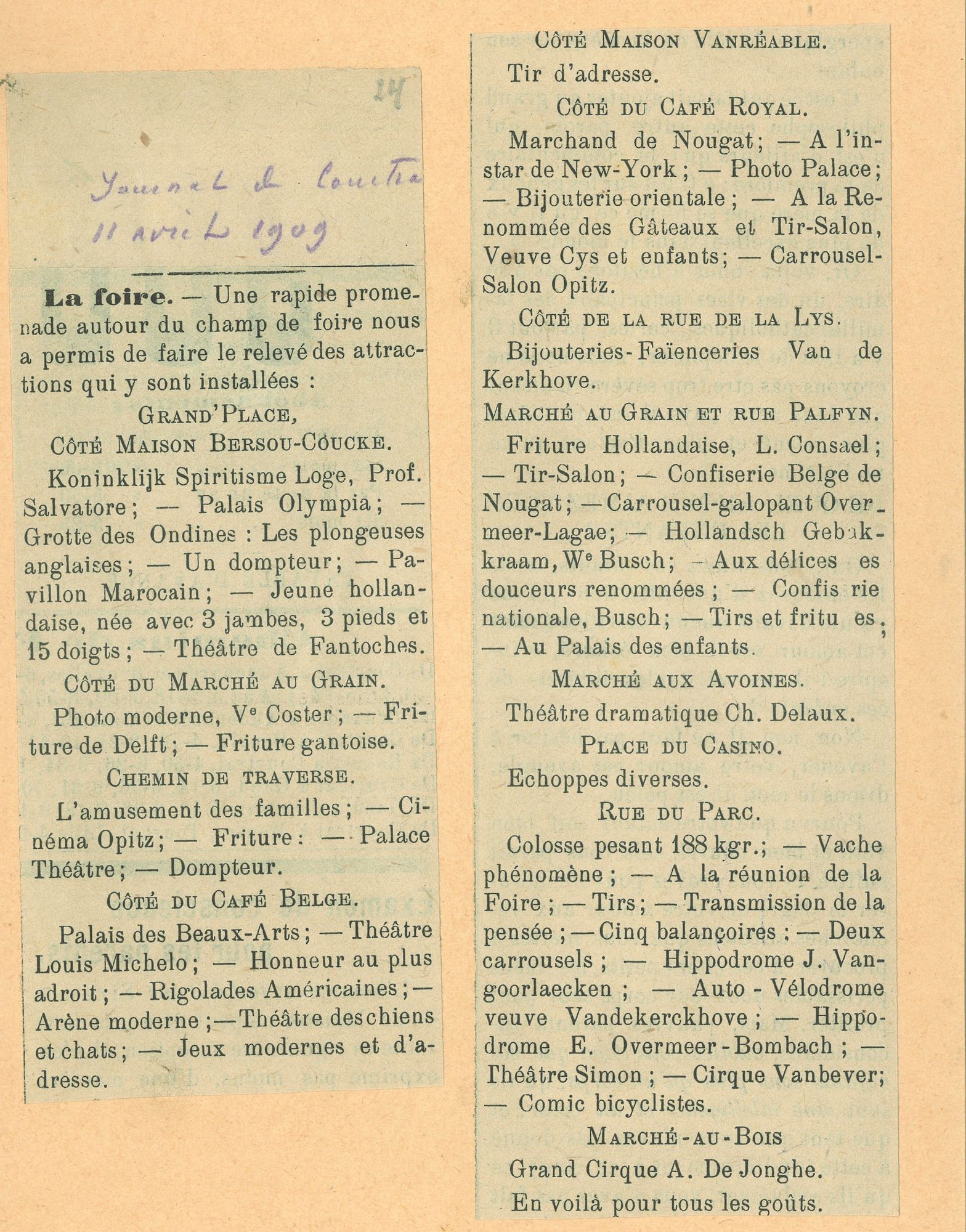 Paasfoor 1909: Journal de Courtrai