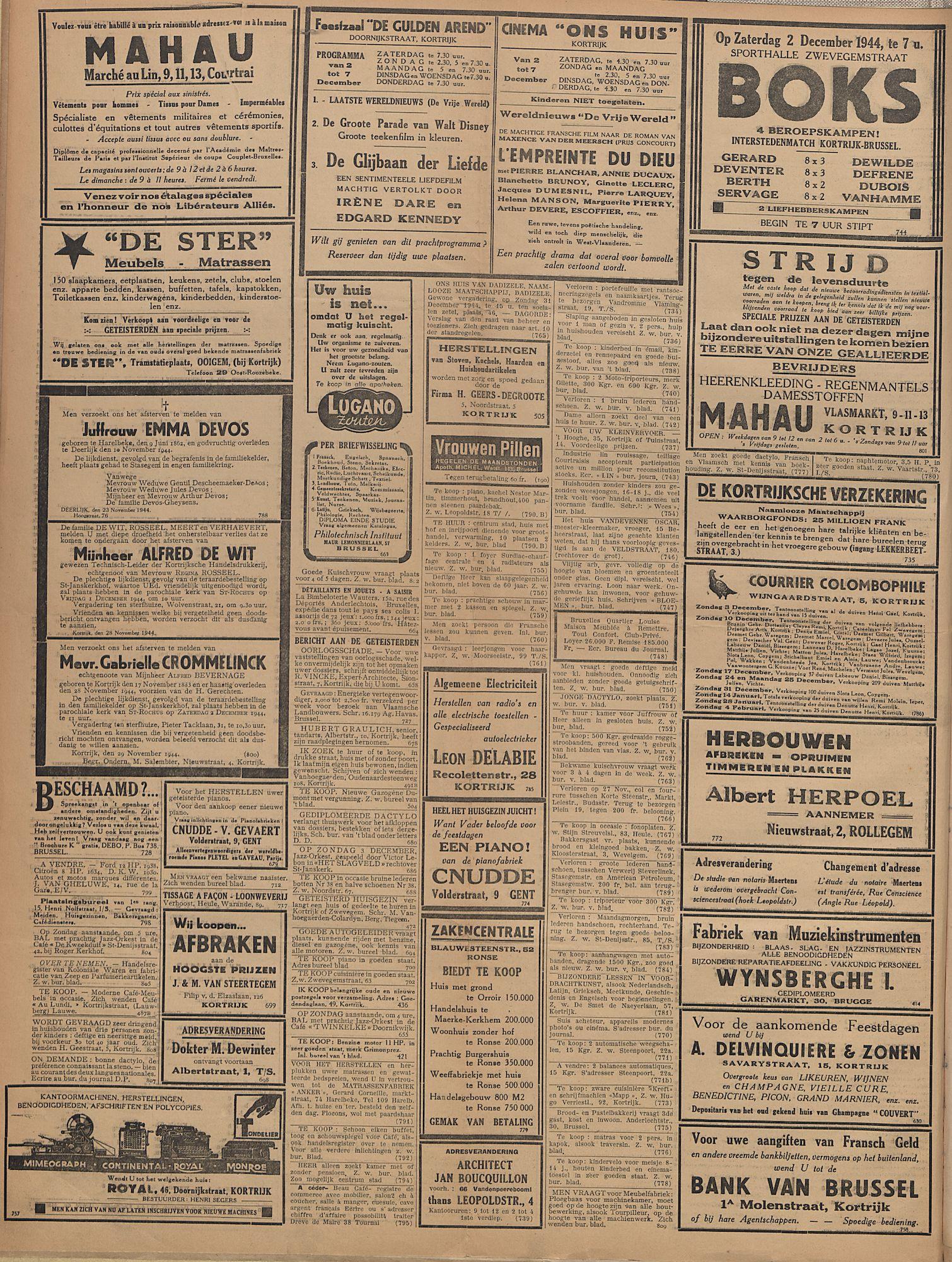 Kortrijksch Handelsblad 1 december 1944 Nr12 p2