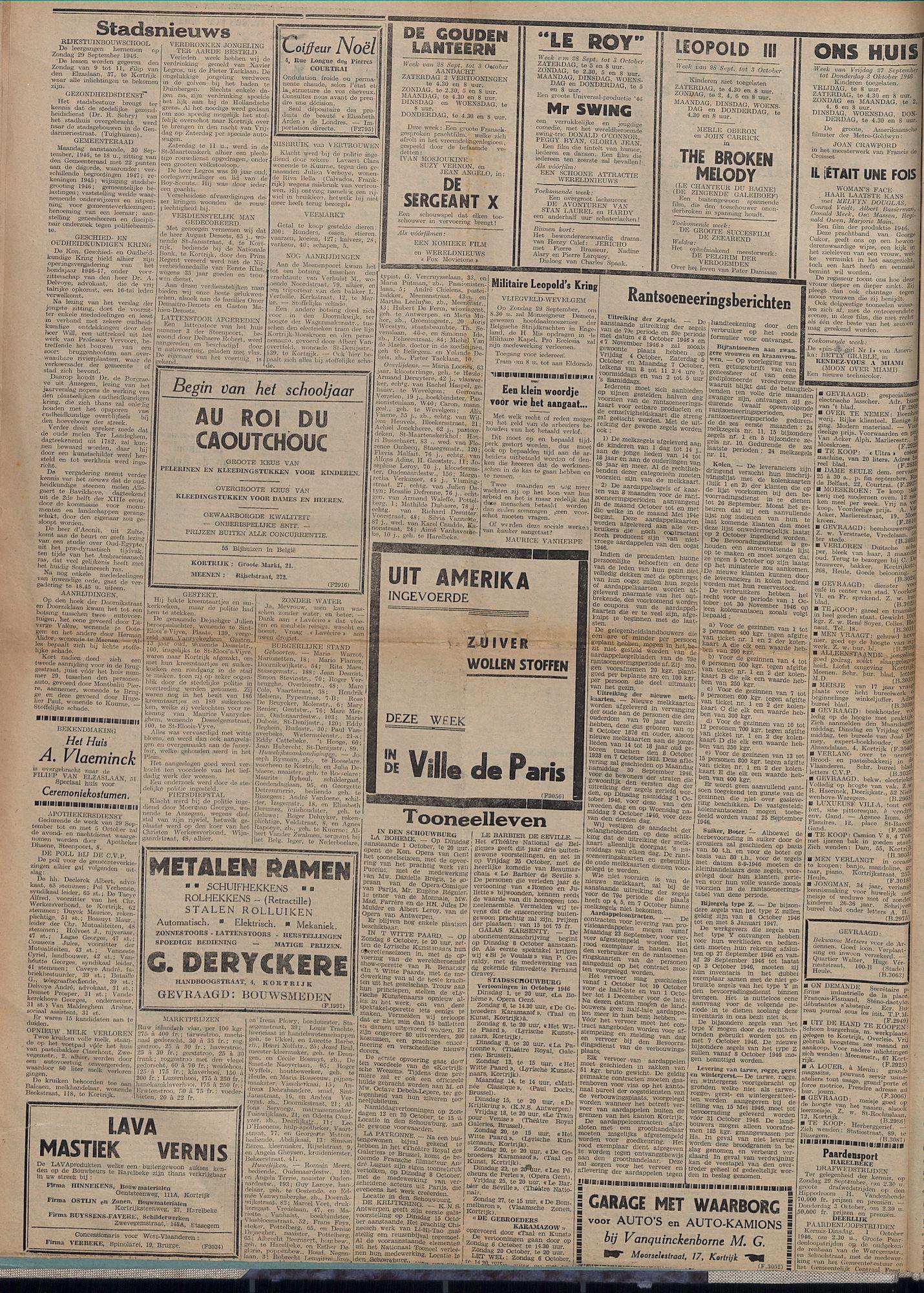 Kortrijksch Handelsblad 27 september 1946 Nr78 p2