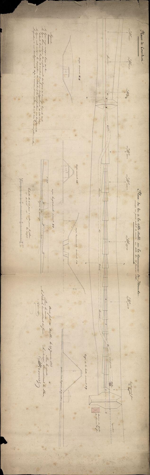 Bouwplannen van een schietbaan te Marke en aan de abdijkaai te Kortrijk, 1858-1884