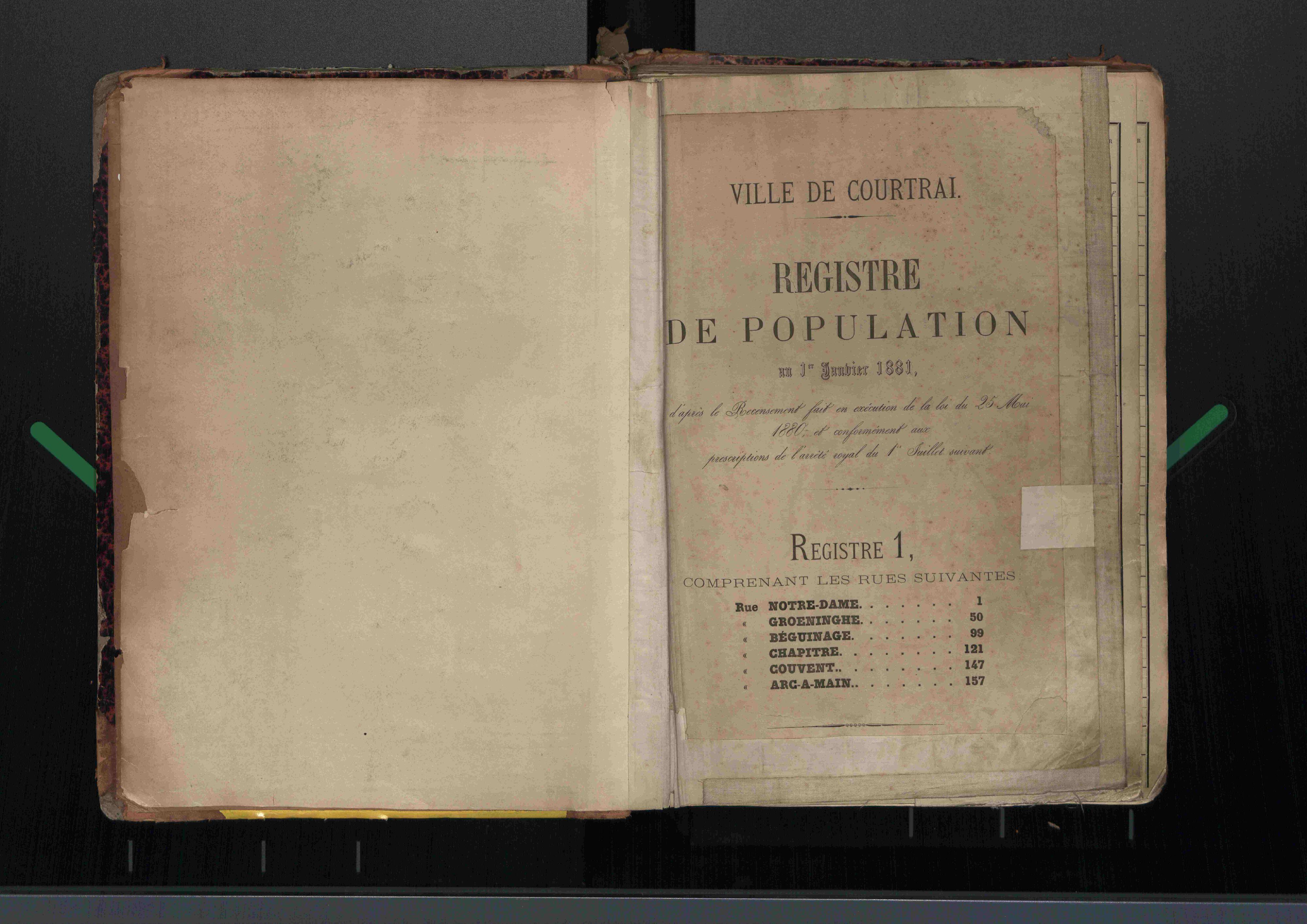 Bevolkingsregister Kortrijk 1880 boek 1