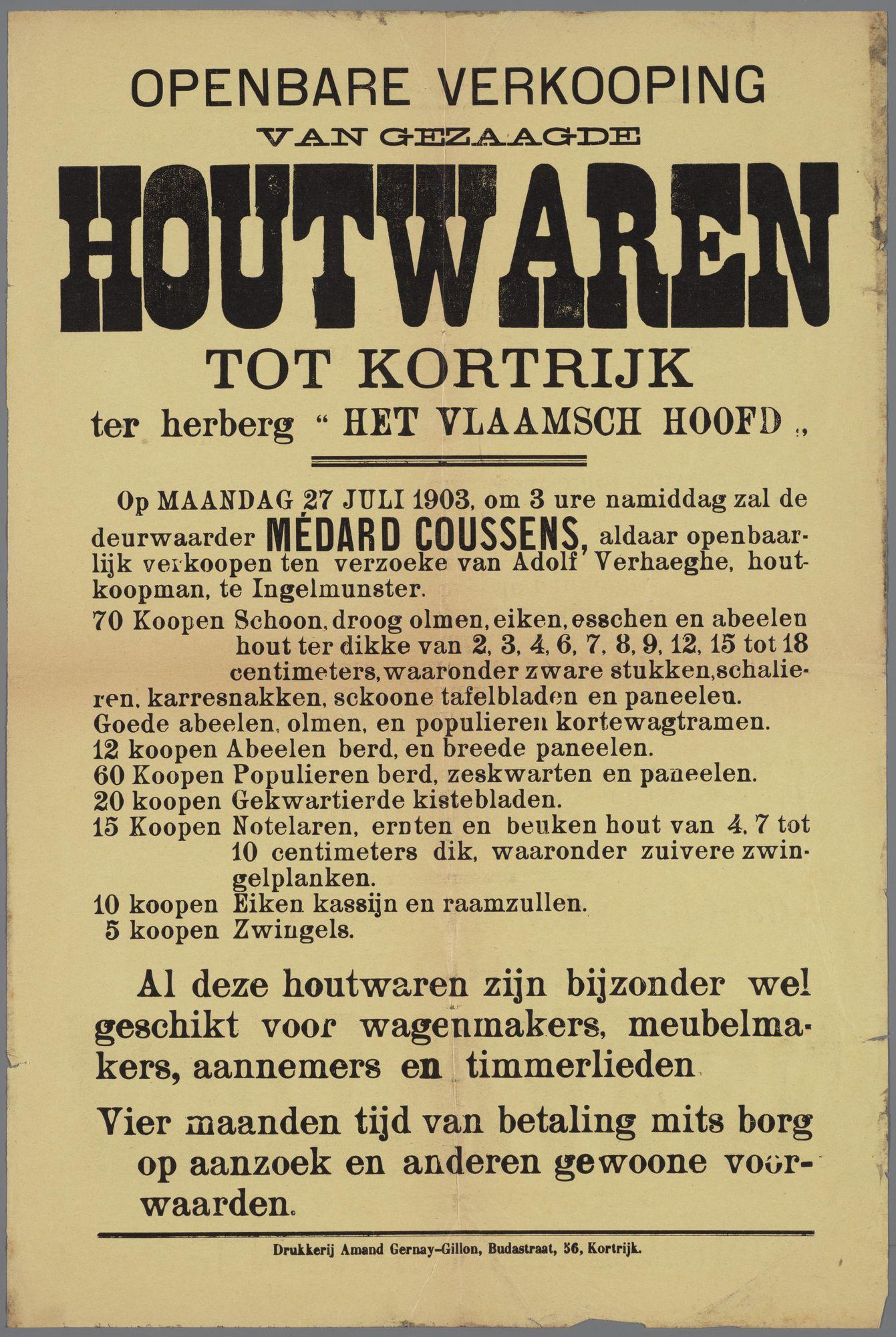 Verkoop van gezaagde houtwaren 1903