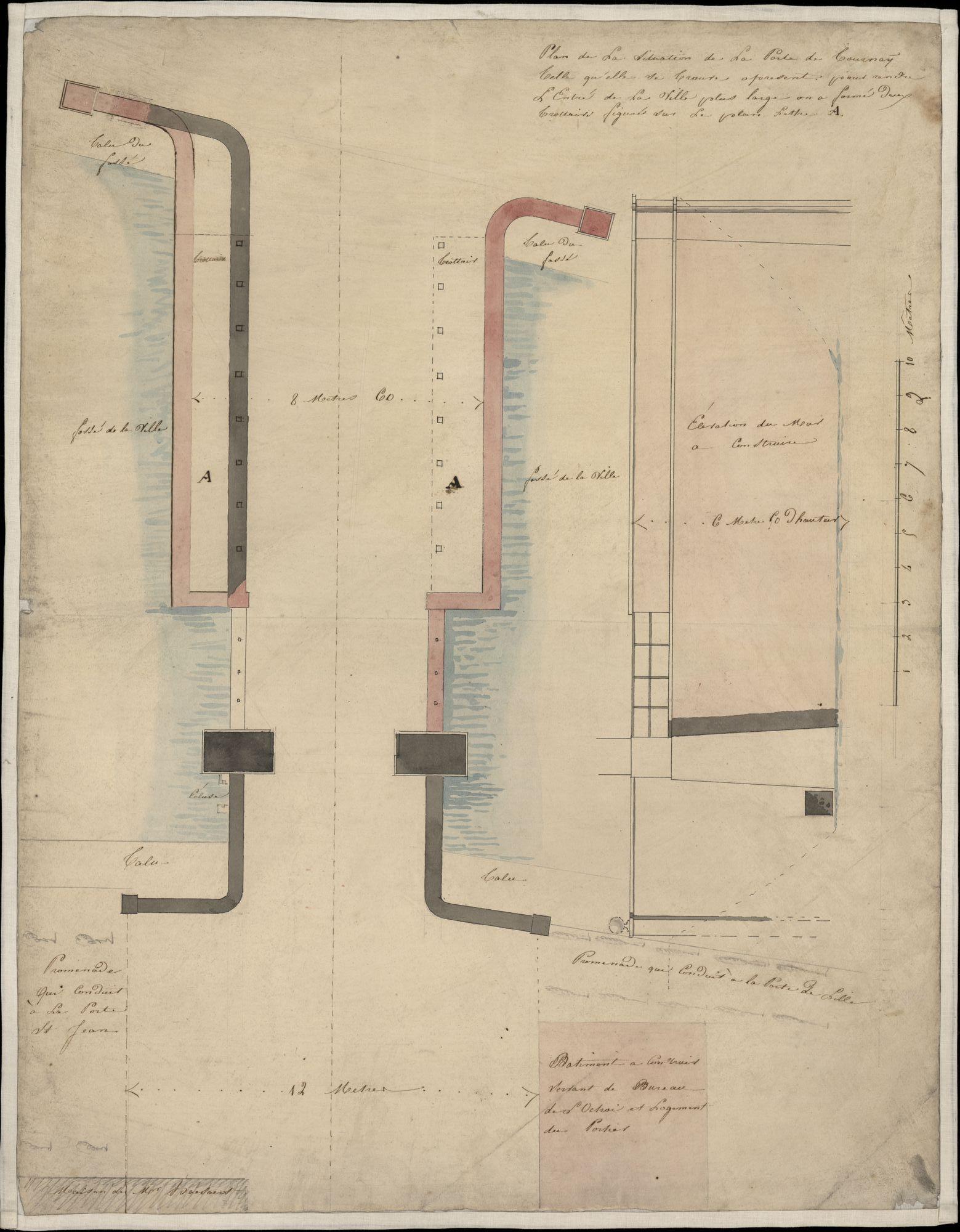 Bouwplan van de Doorniksepoort te Kortrijk, 19de eeuw