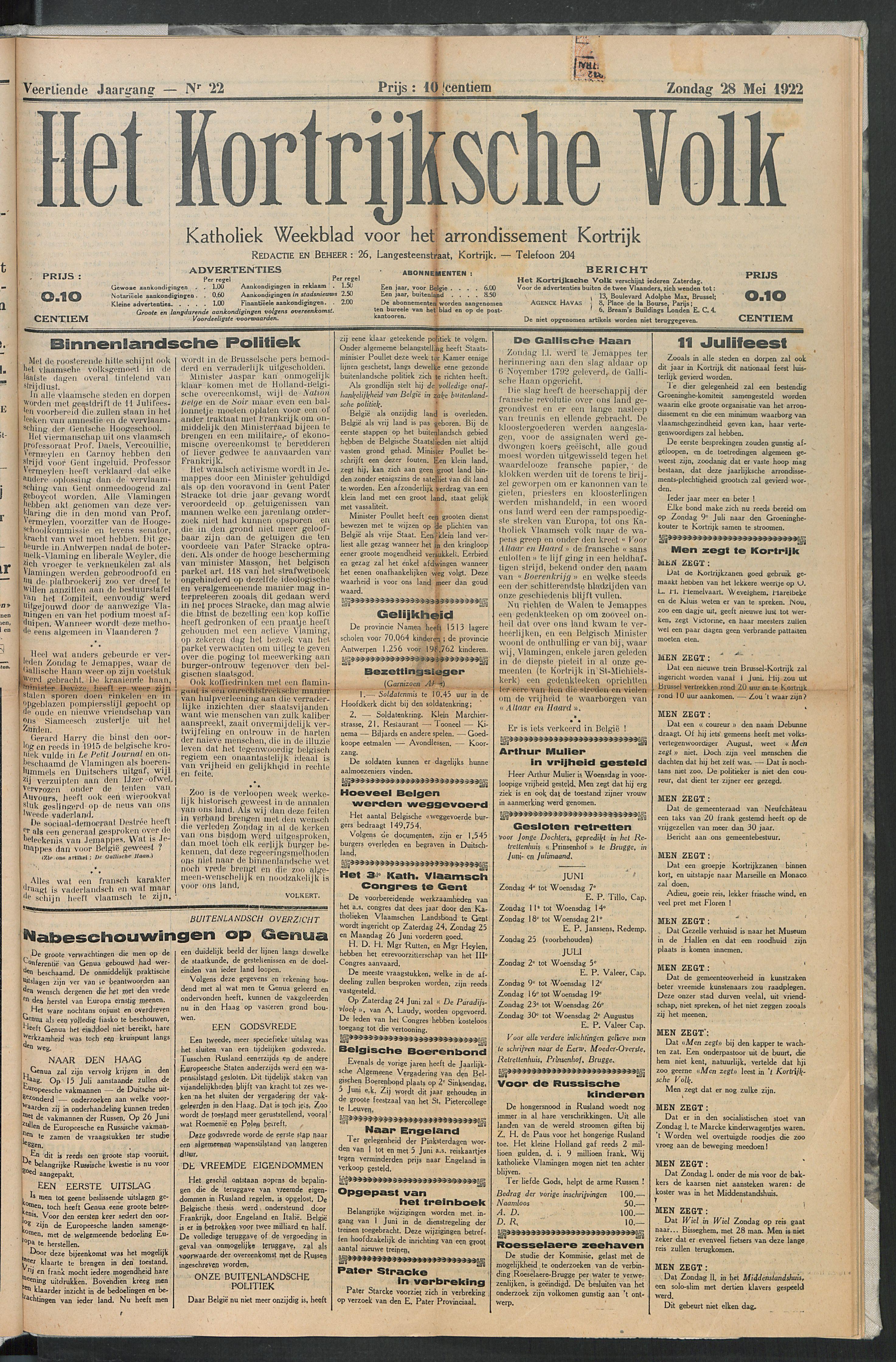 Het Kortrijksche Volk 1922-05-28 p1