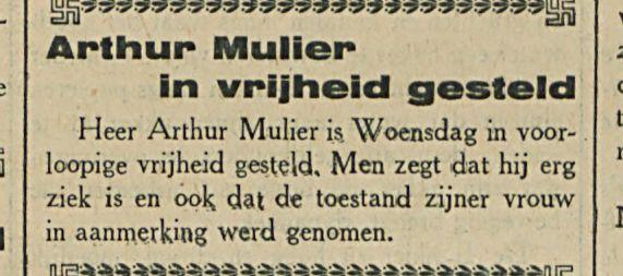 Arthur Mulier in vrijheid gesteld