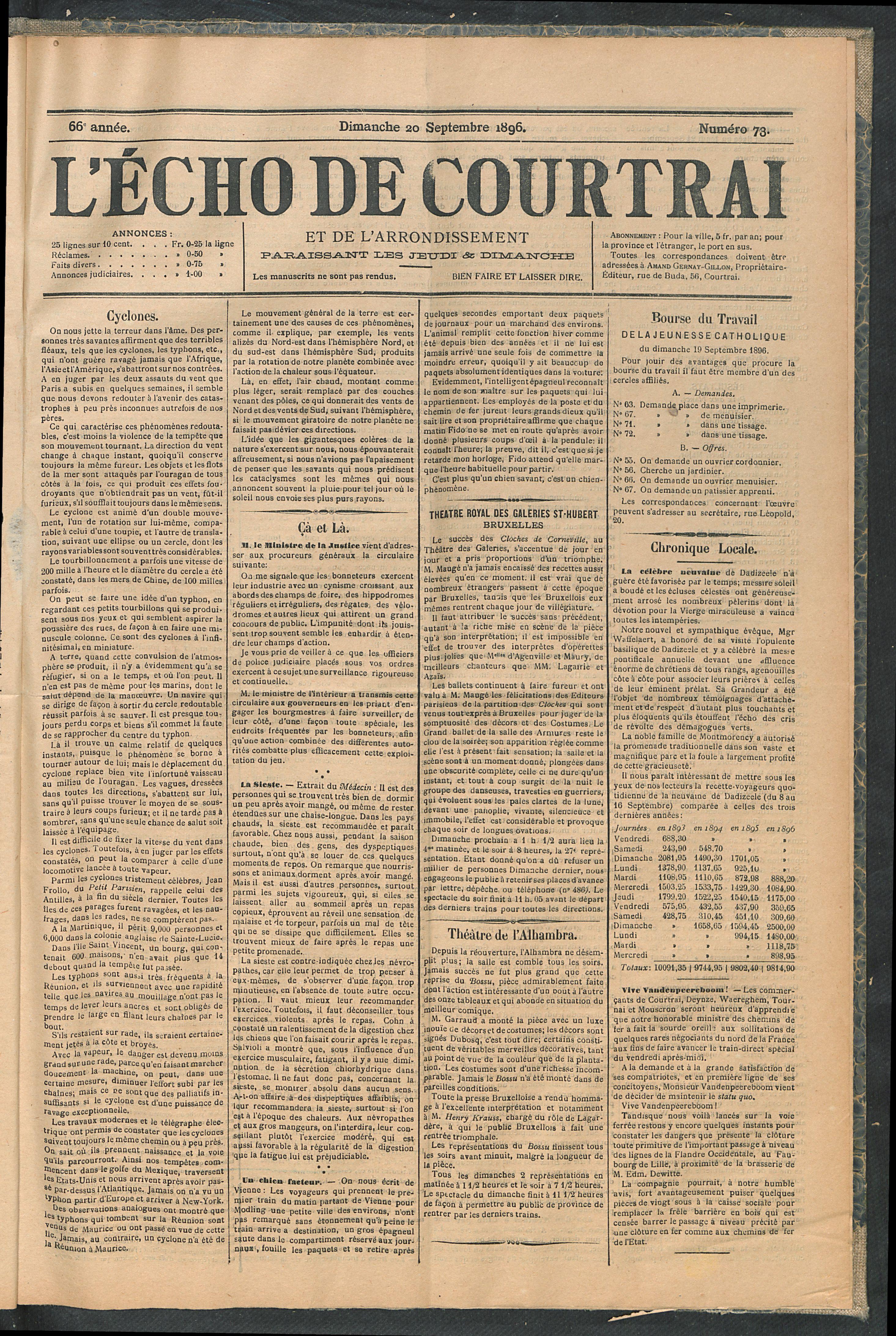 L'echo De Courtrai 1896-09-20 p1