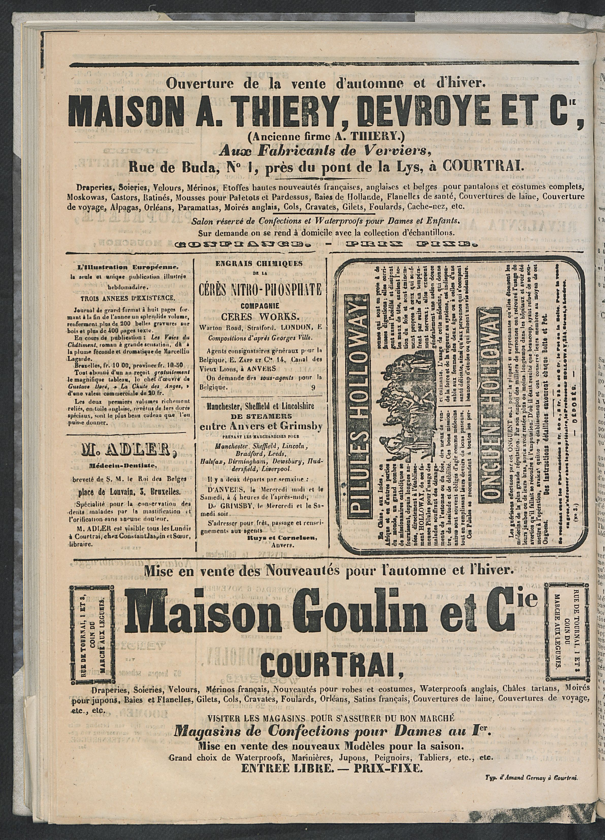 L'echo De Courtrai 1873-11-01 p6