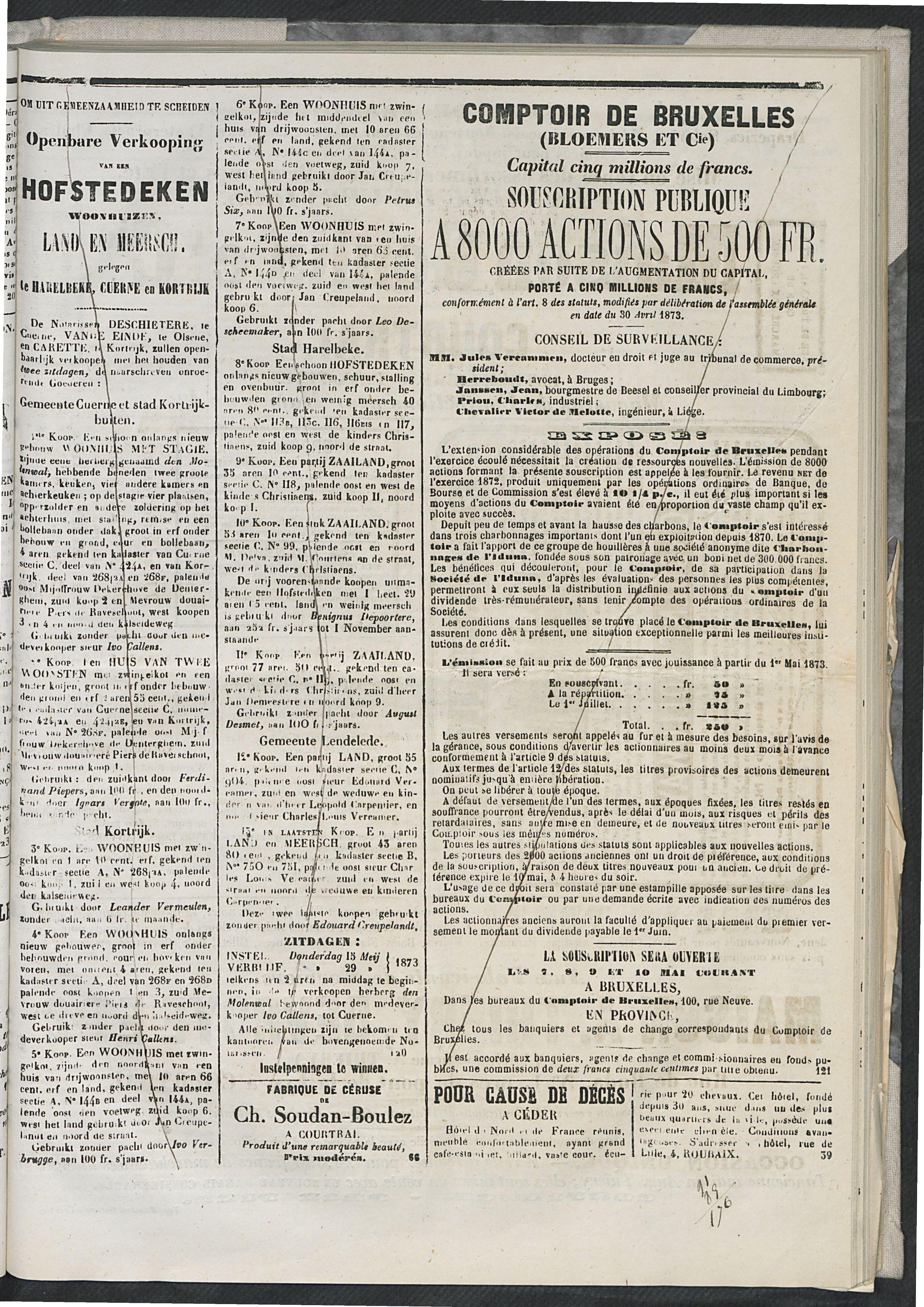 L'echo De Courtrai 1873-05-08 p3