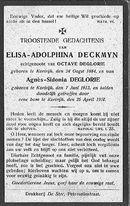 Deckmyn Elisa-Adolphina en Deglorie Agnès-Sidonia