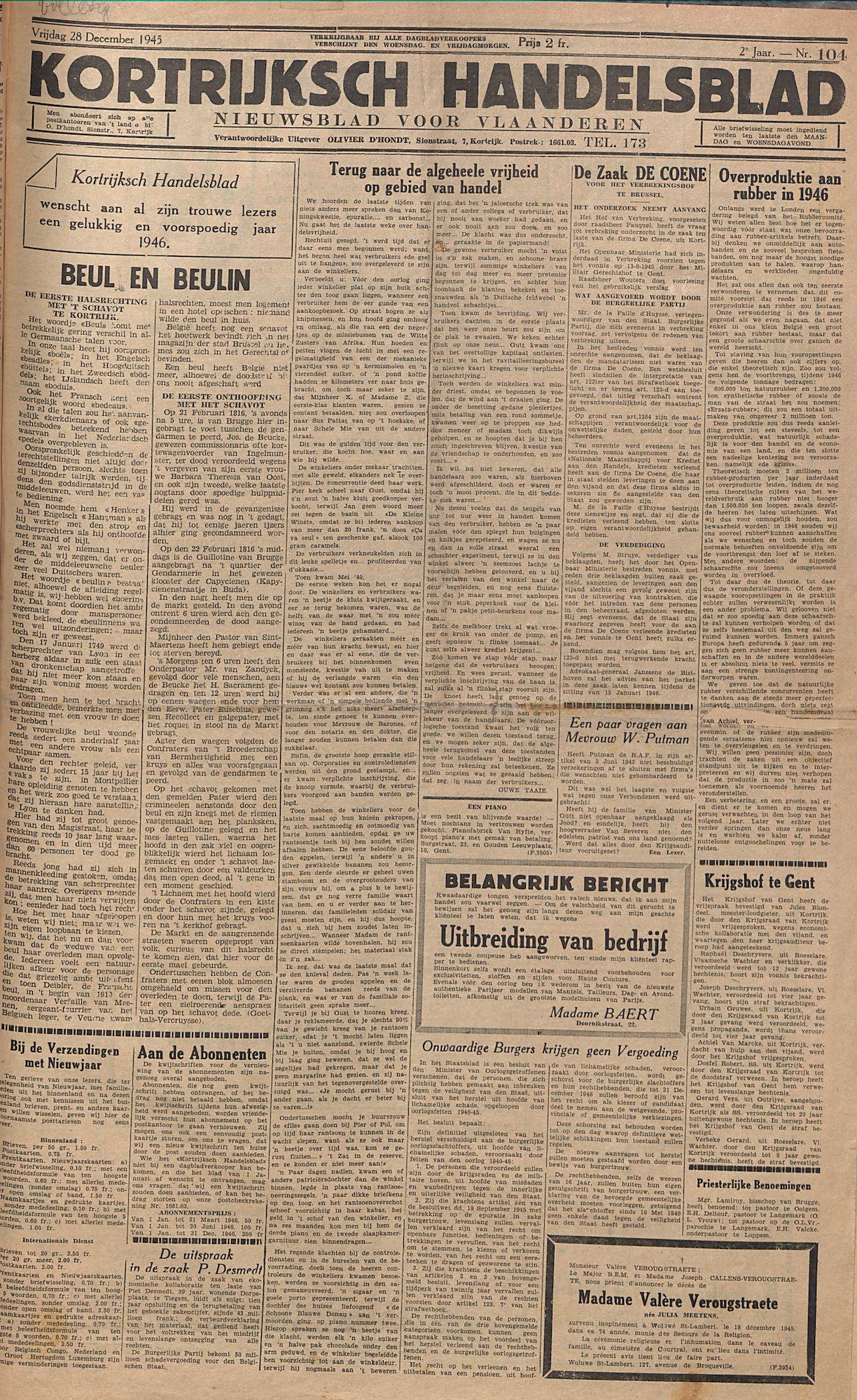 Kortrijksch Handelsblad 28 december 1945 Nr104 p1