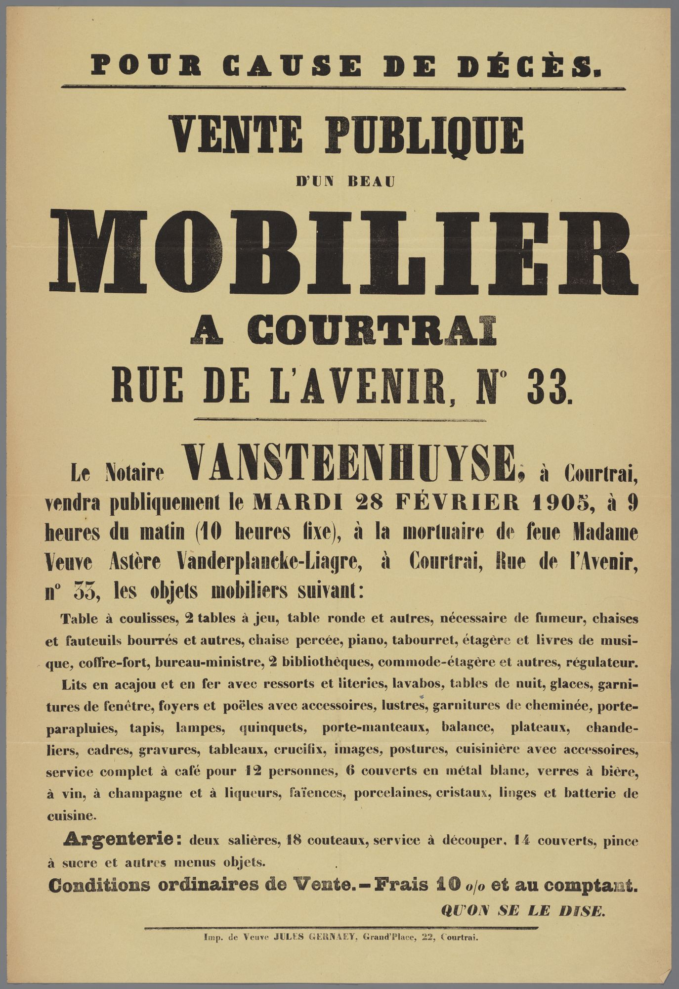 Openbare verkoop van inboedel te Kortrijk 1905