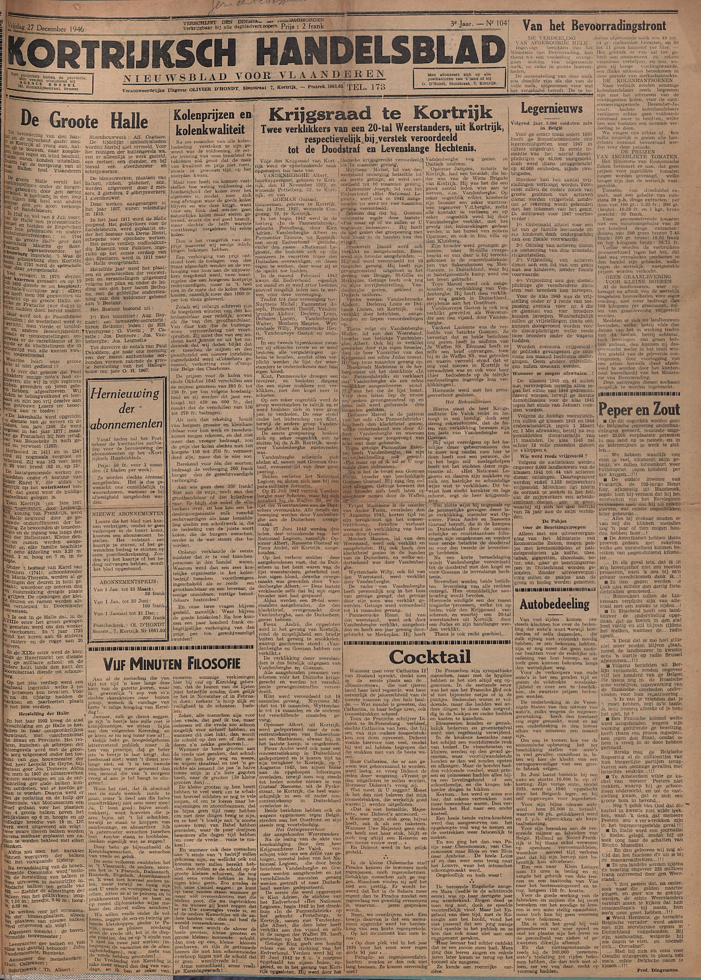 Kortrijksch Handelsblad 27 december 1946 Nr104 p1