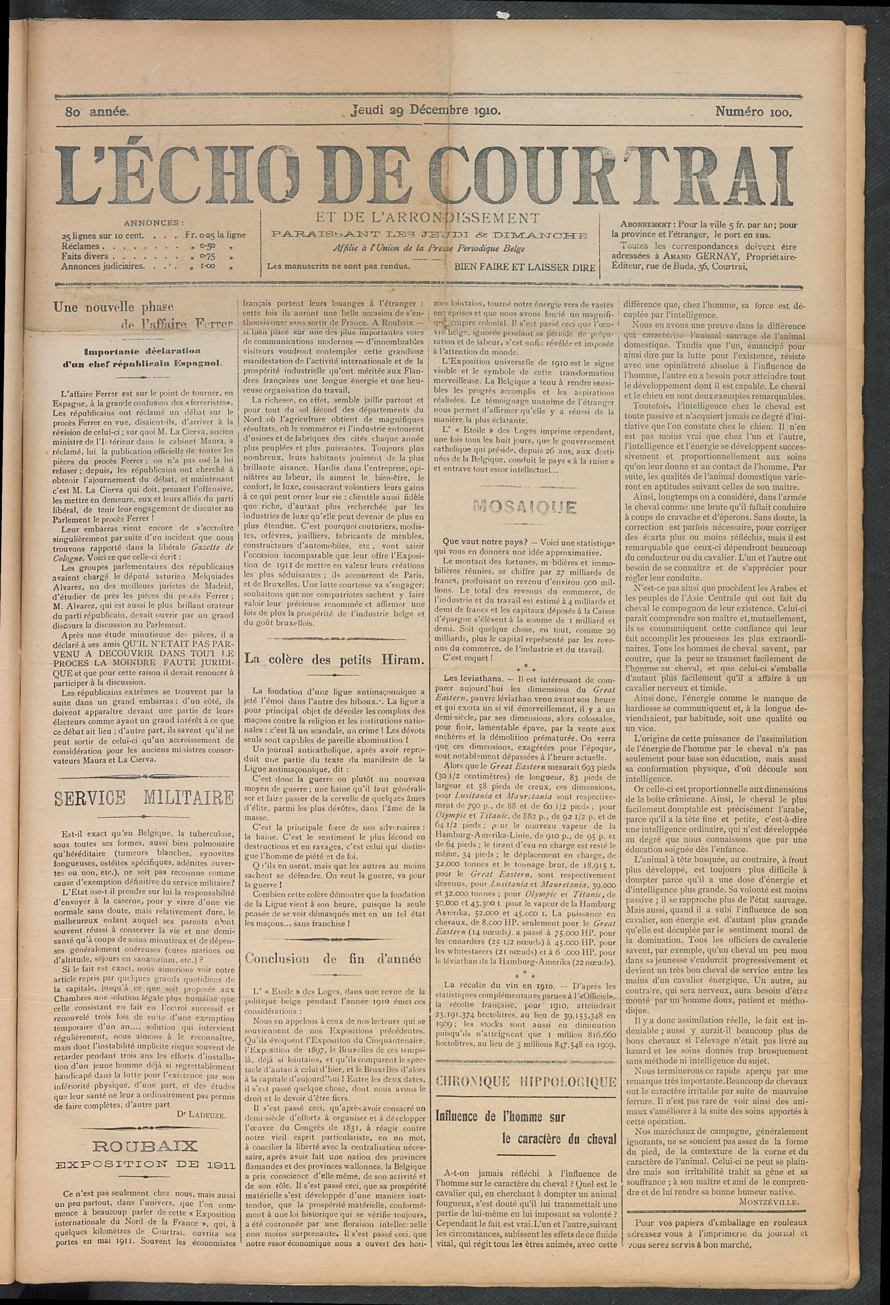 L'echo De Courtrai 1910-12-29 p1