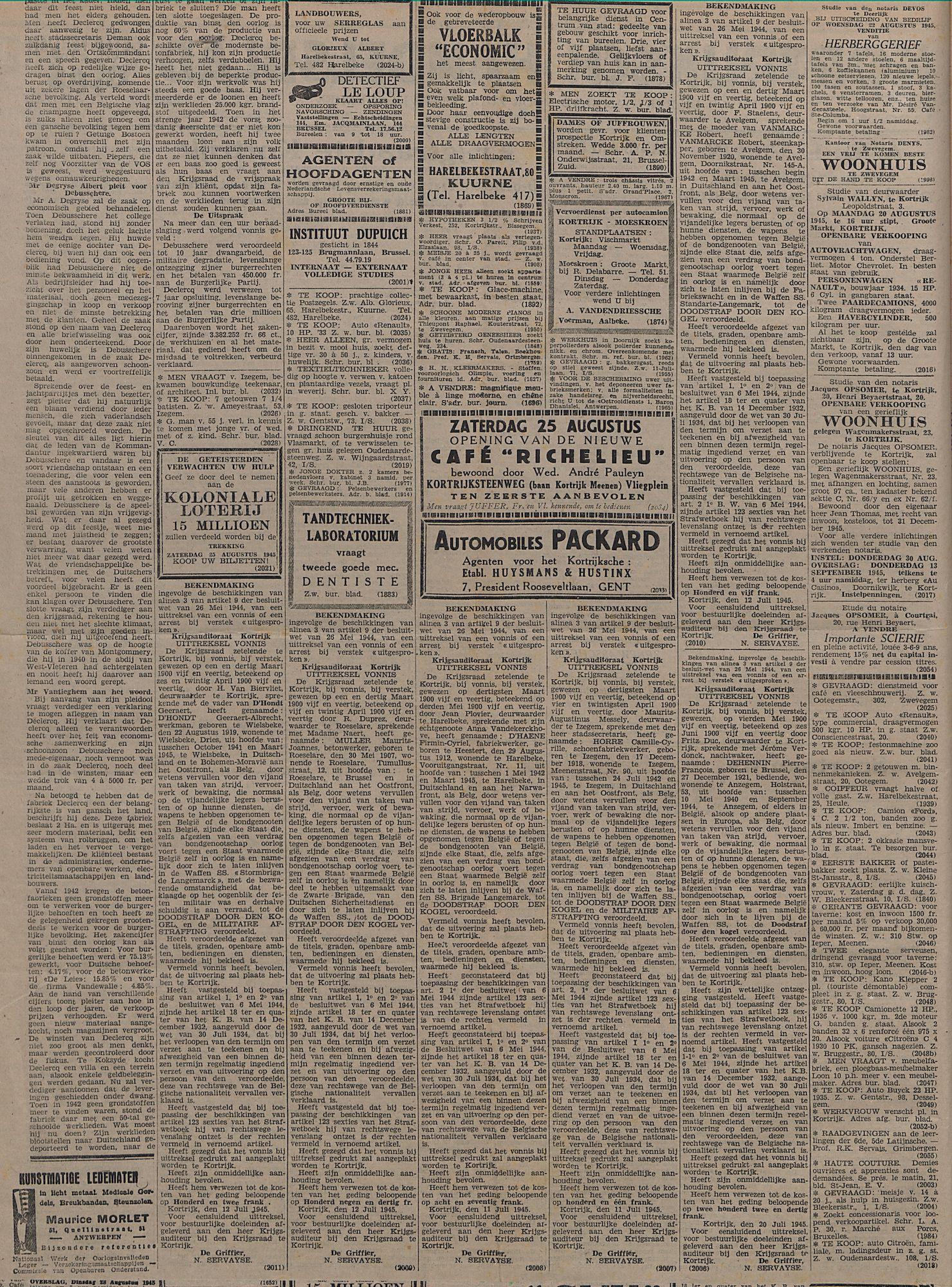 Kortrijksch Handelsblad 15 augustus 1945 Nr65 p2