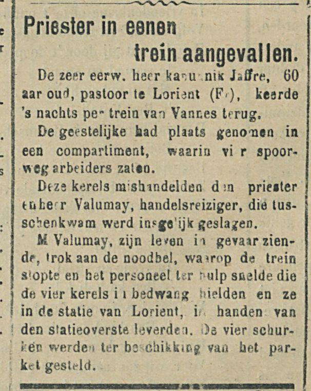 Priester in eenen trein aangevallen