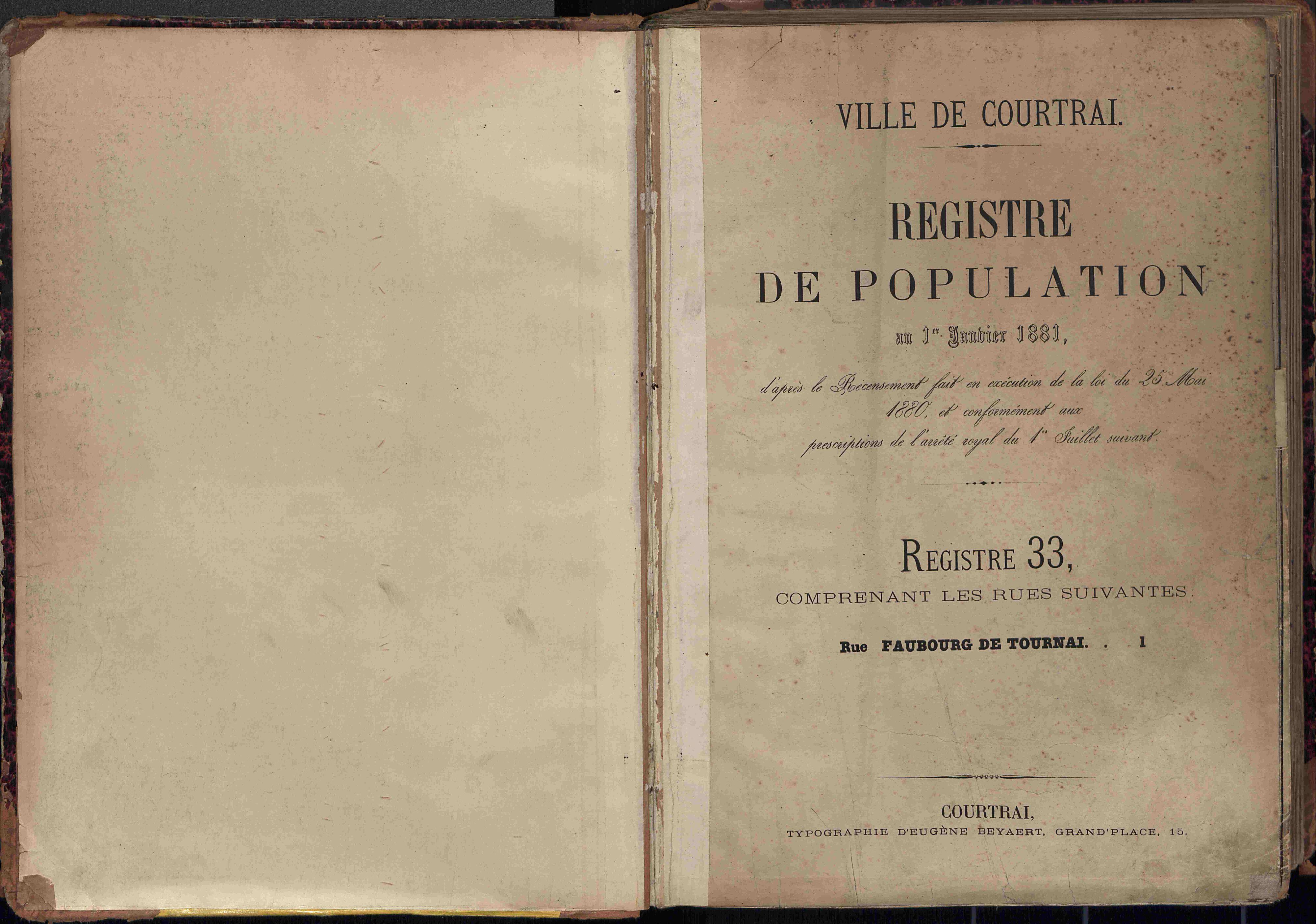 Bevolkingsregister Kortrijk 1880 boek 33