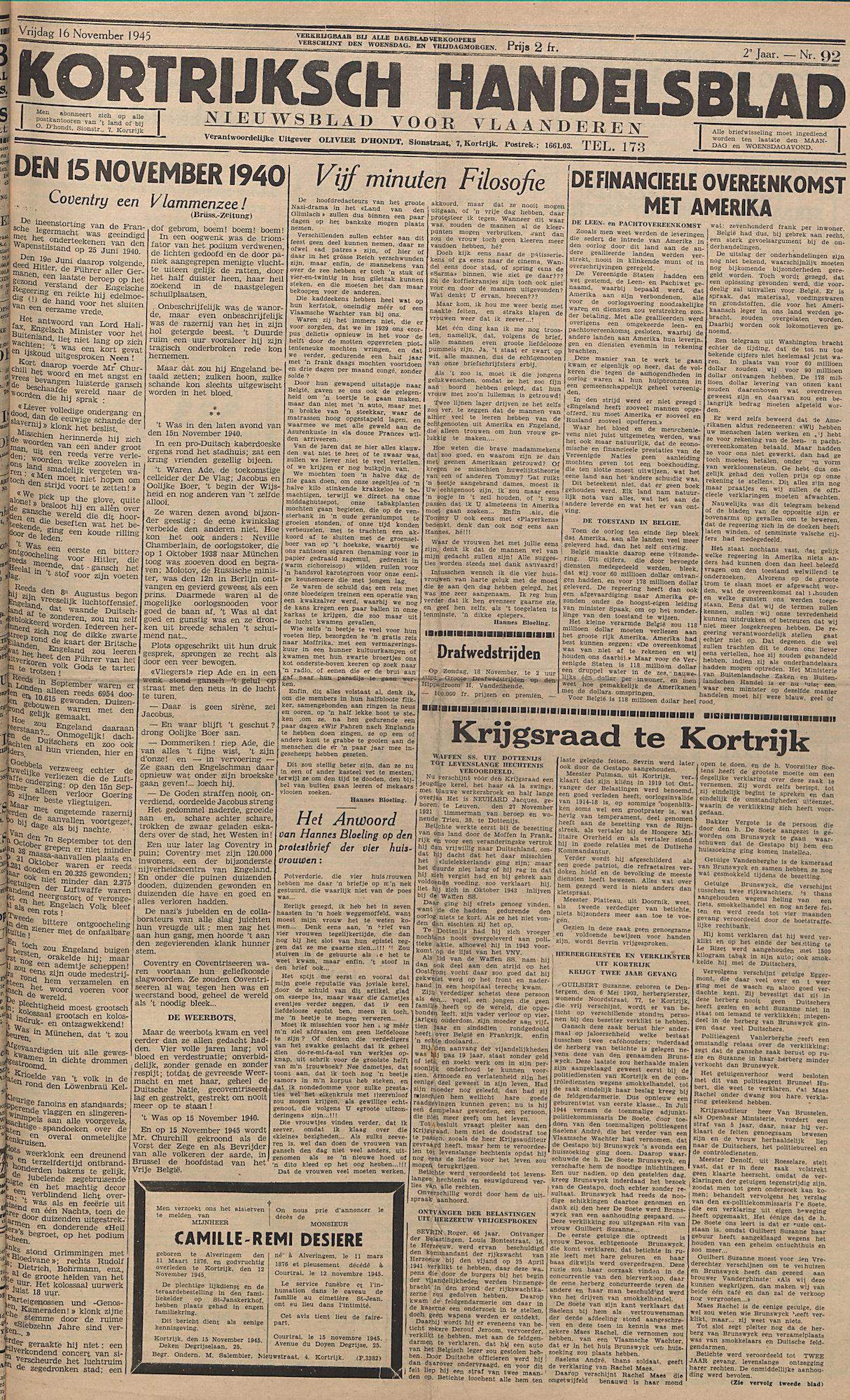 Kortrijksch Handelsblad 16 november 1945 Nr92 p1