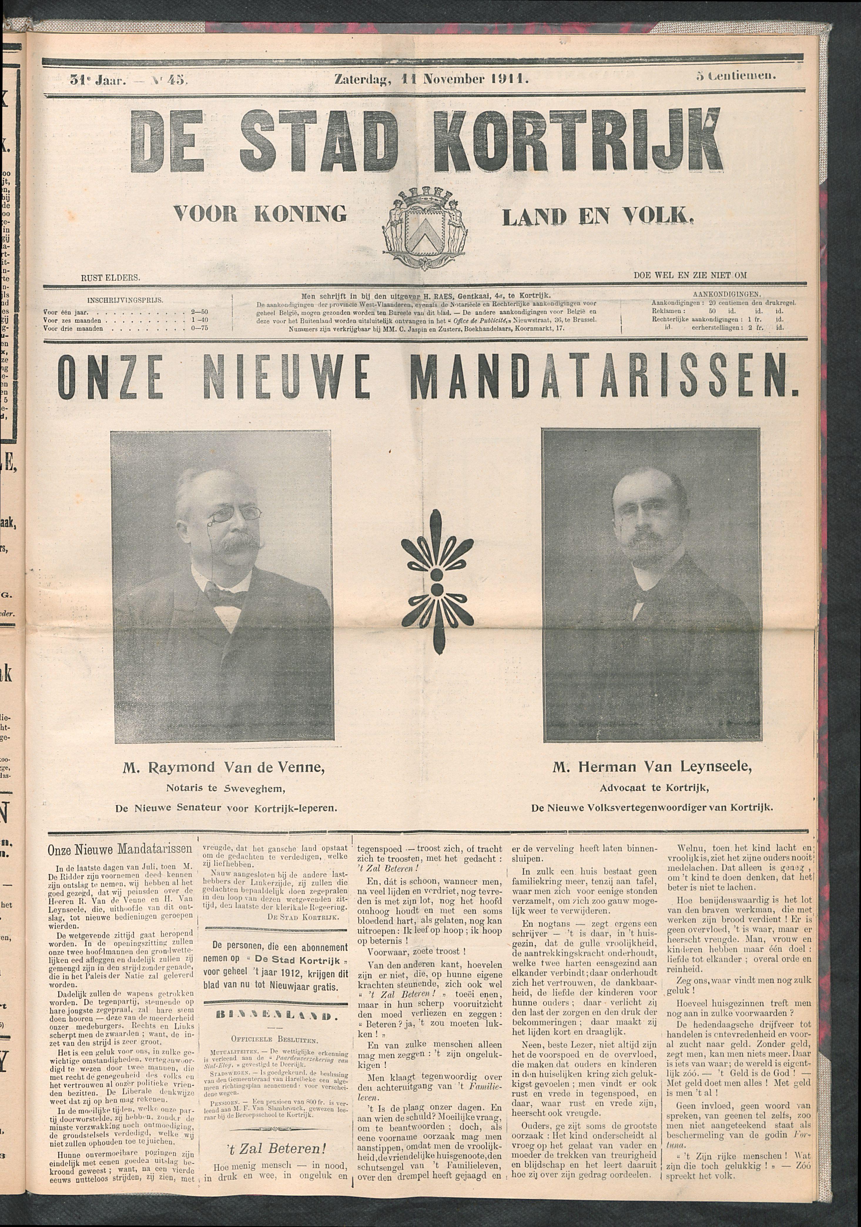 De Stad Kortrijk 1911-11-11 p1