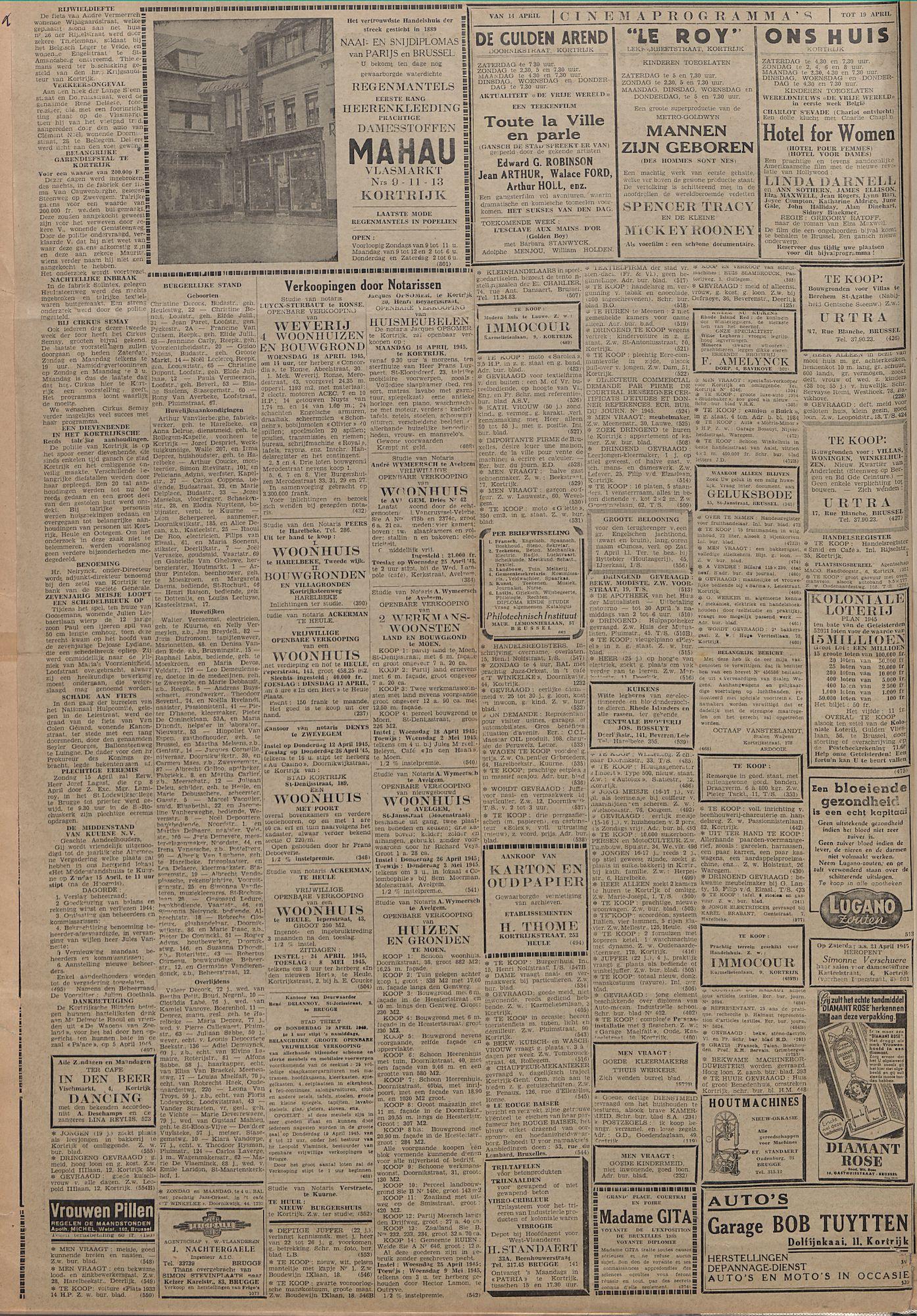 Kortrijksch Handelsblad 14 april 1945 Nr30 p2