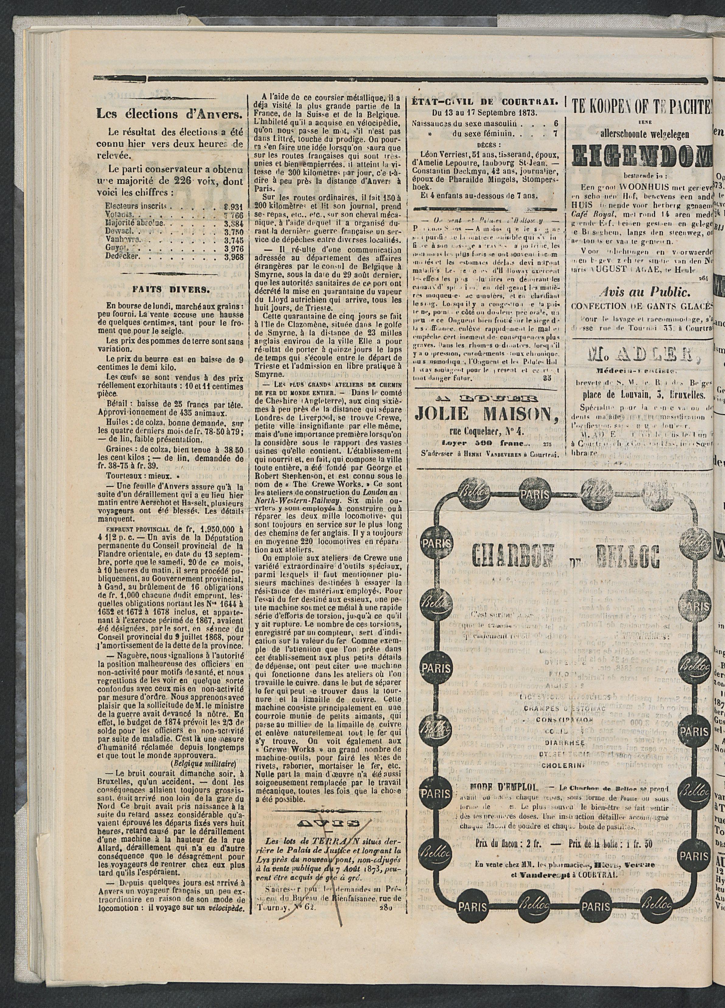 L'echo De Courtrai 1873-09-18 p2