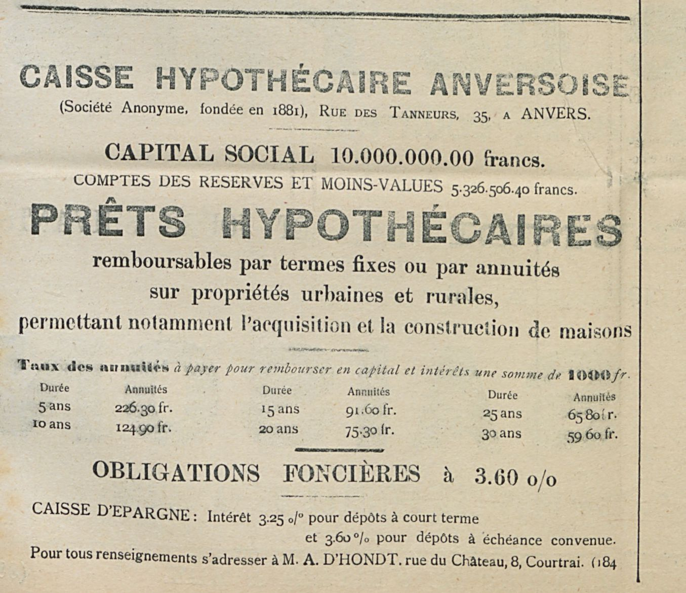CAISSE HYPOTHECAIRE ANVERSOISE
