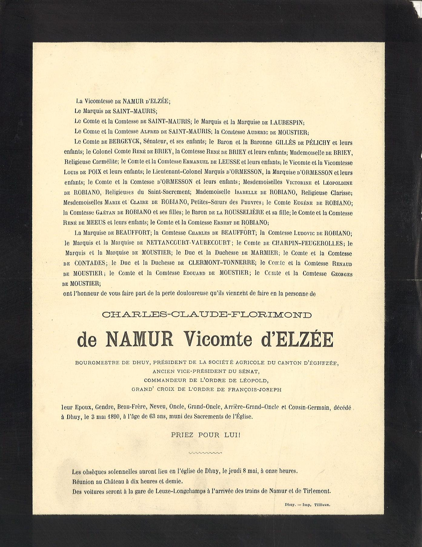 Charles-Clauyde-Florimond de Namur Vicomted' Elzée