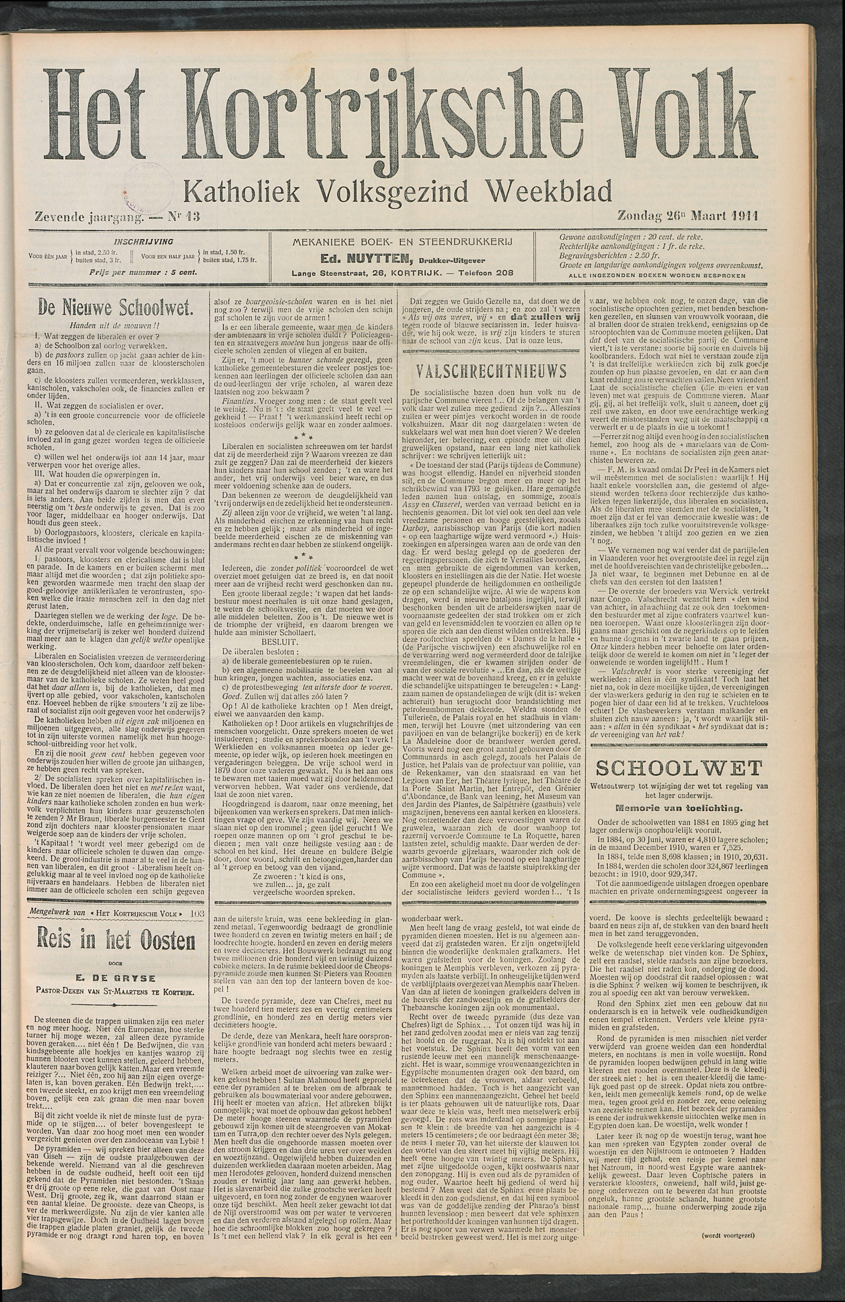 Het Kortrijksche Volk 1911-03-26 p1