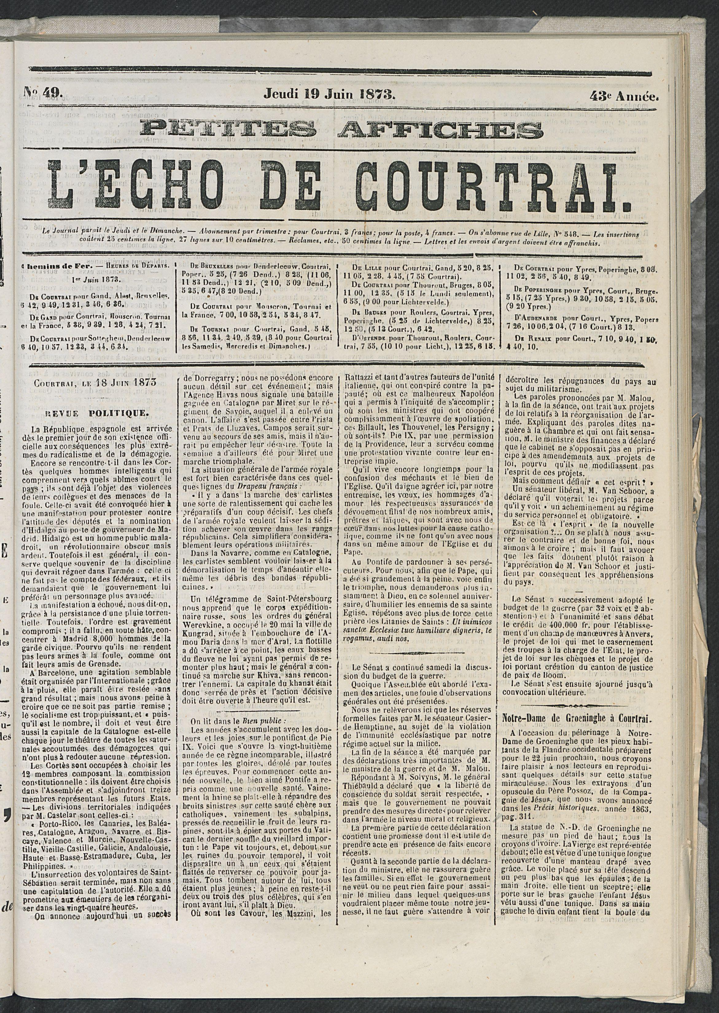 L'echo De Courtrai 1873-06-19 p1