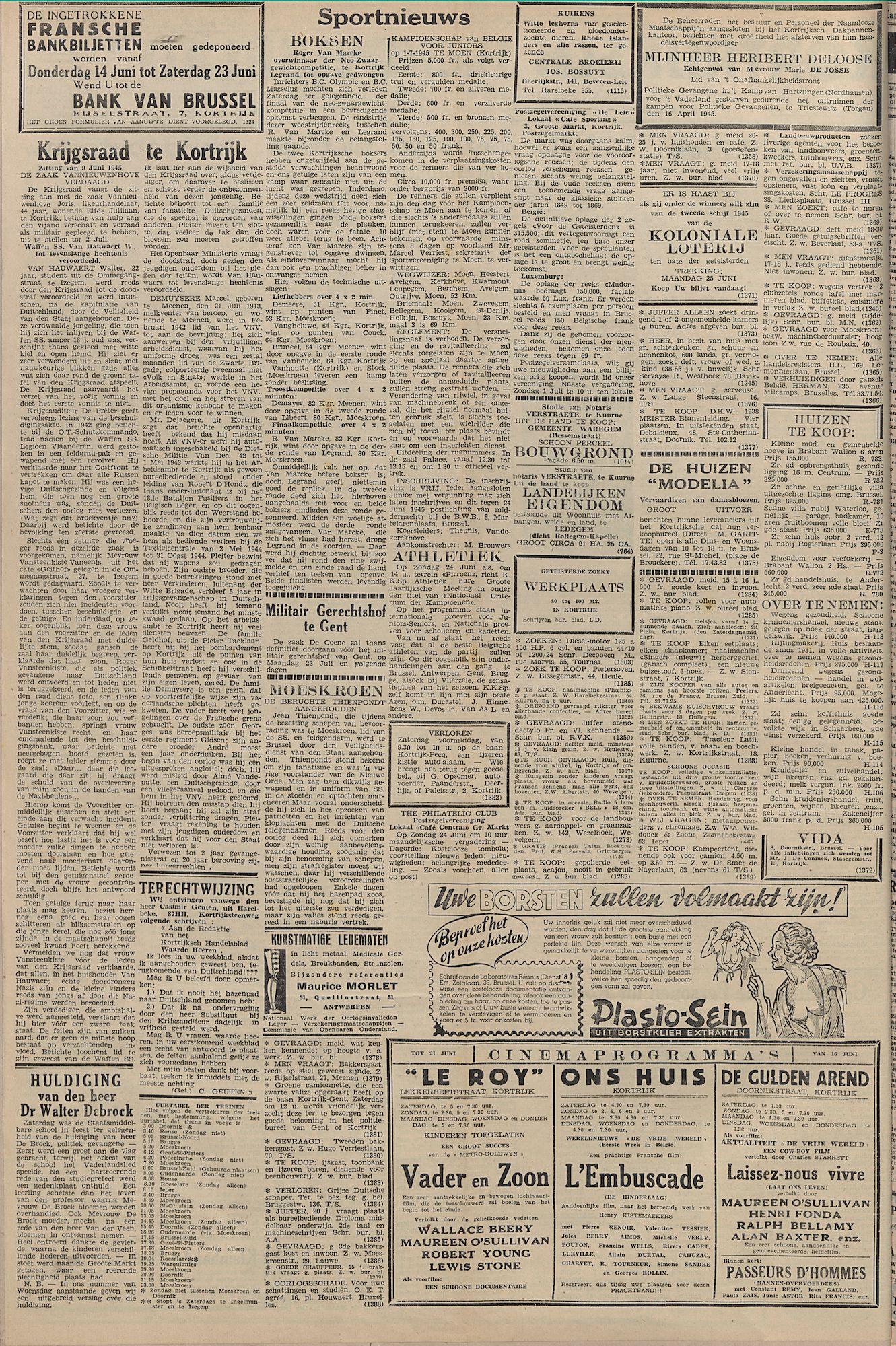 Kortrijksch Handelsblad 20 juni 1945 Nr49 p2